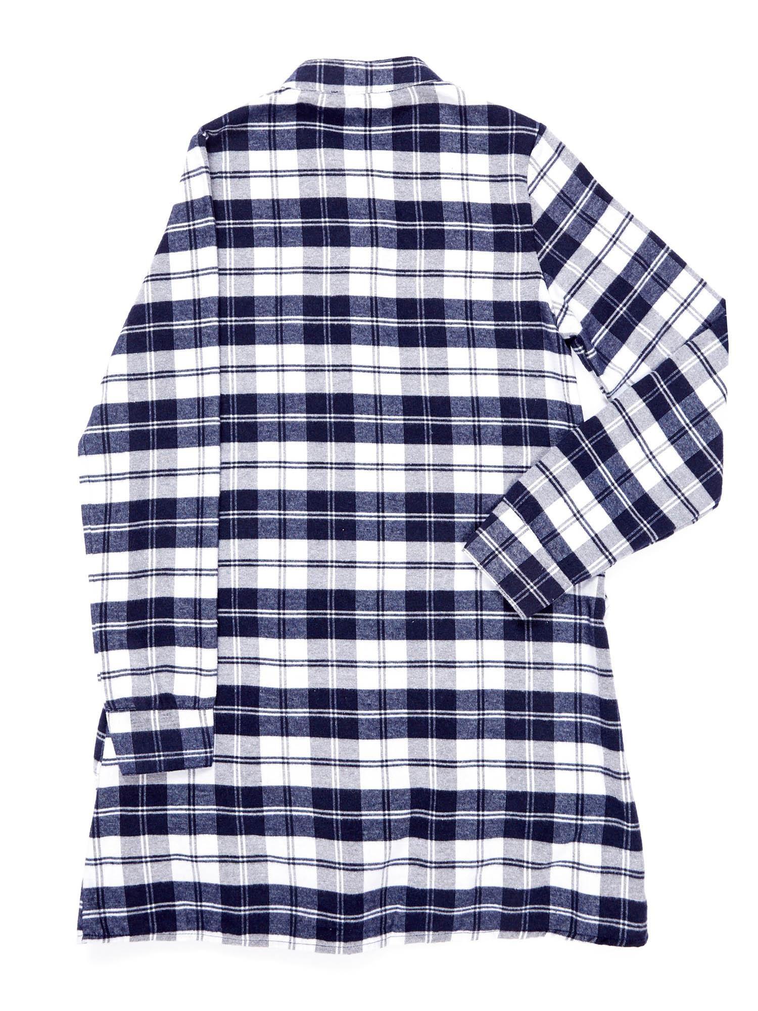 86d4f2ae Granatowa sukienka w kratę dla dziewczynki z warstwowymi falbanami
