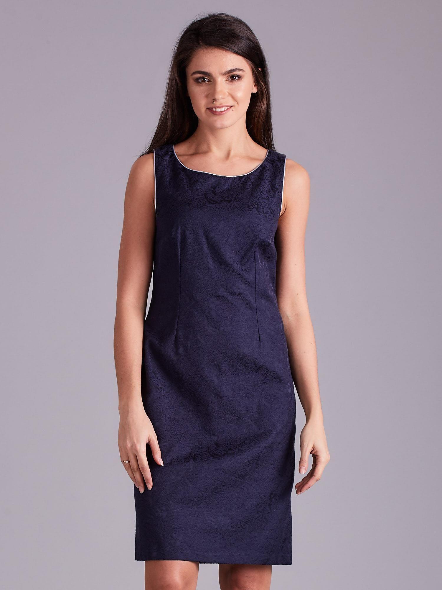 31c083352d Granatowa sukienka w roślinne desenie - Sukienka na wesele - sklep ...