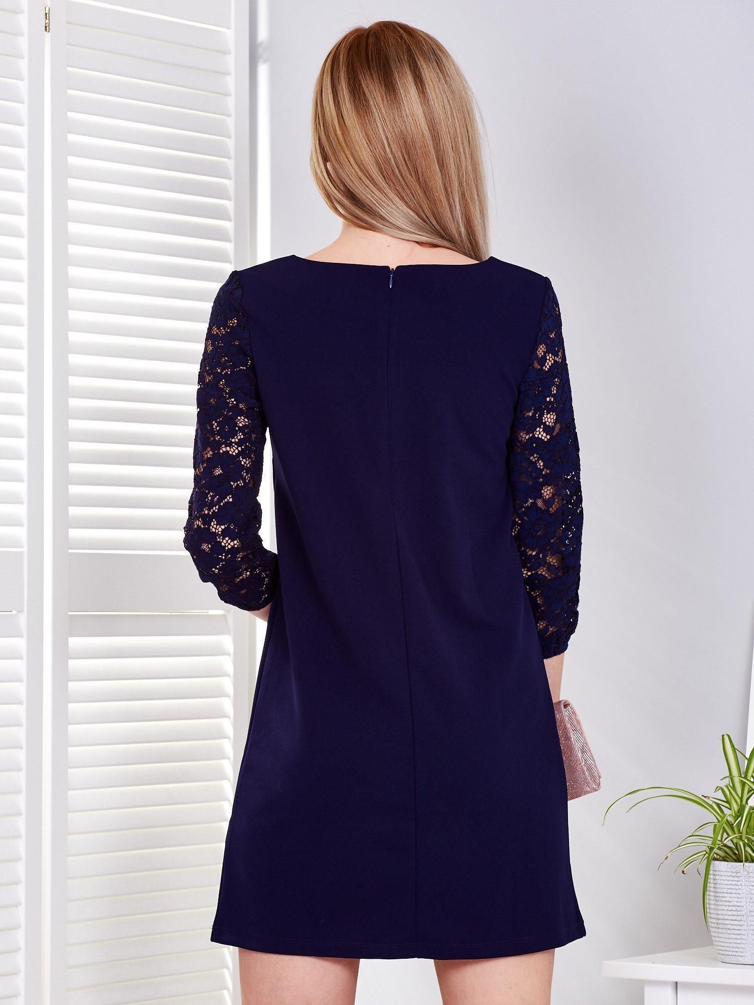8aa2748d85 Granatowa sukienka z koronkowymi rękawami - Sukienka koktajlowa ...