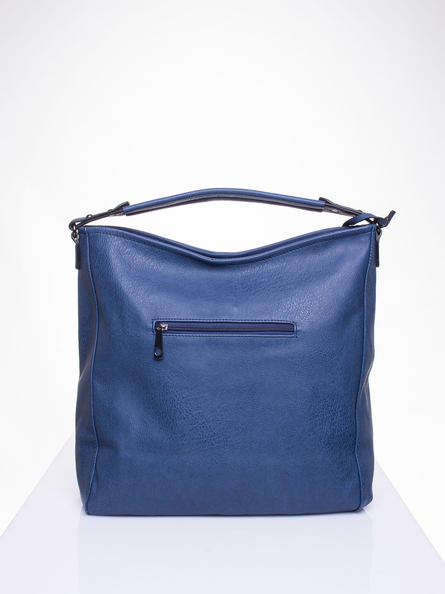 Granatowa torba hobo z suwakami po bokach                                  zdj.                                  4