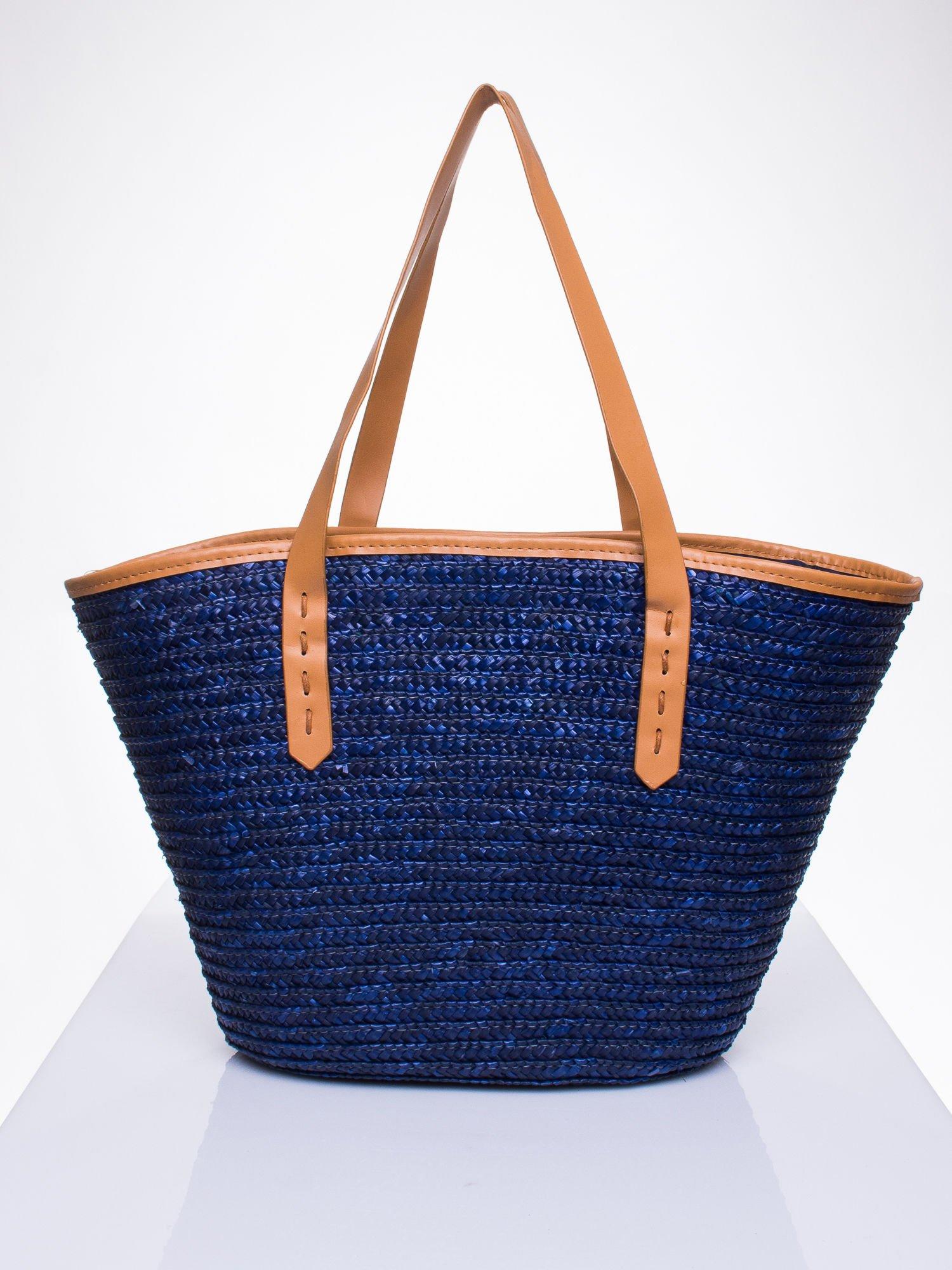Granatowa torba koszyk plażowy ze skórzanymi rączkami                                  zdj.                                  3