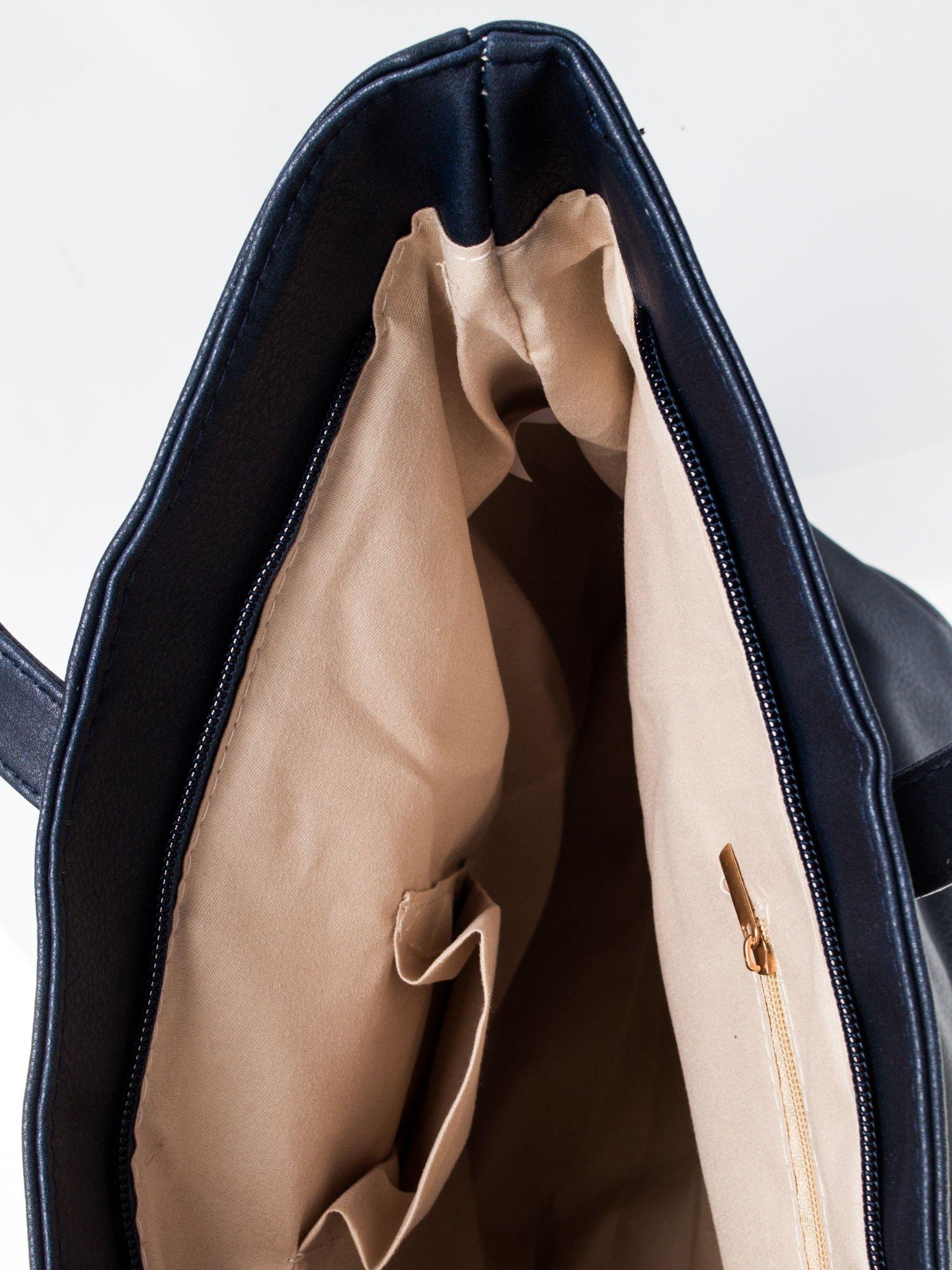 Granatowa torba ze złotym detalem                                  zdj.                                  8
