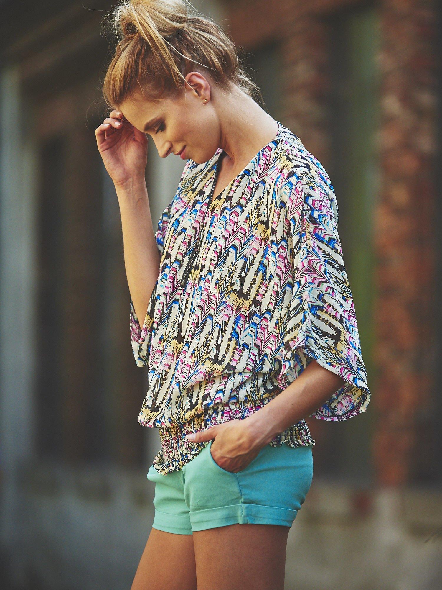 Granatowa wzorzysta koszula nietoperz z suwakiem                                  zdj.                                  7