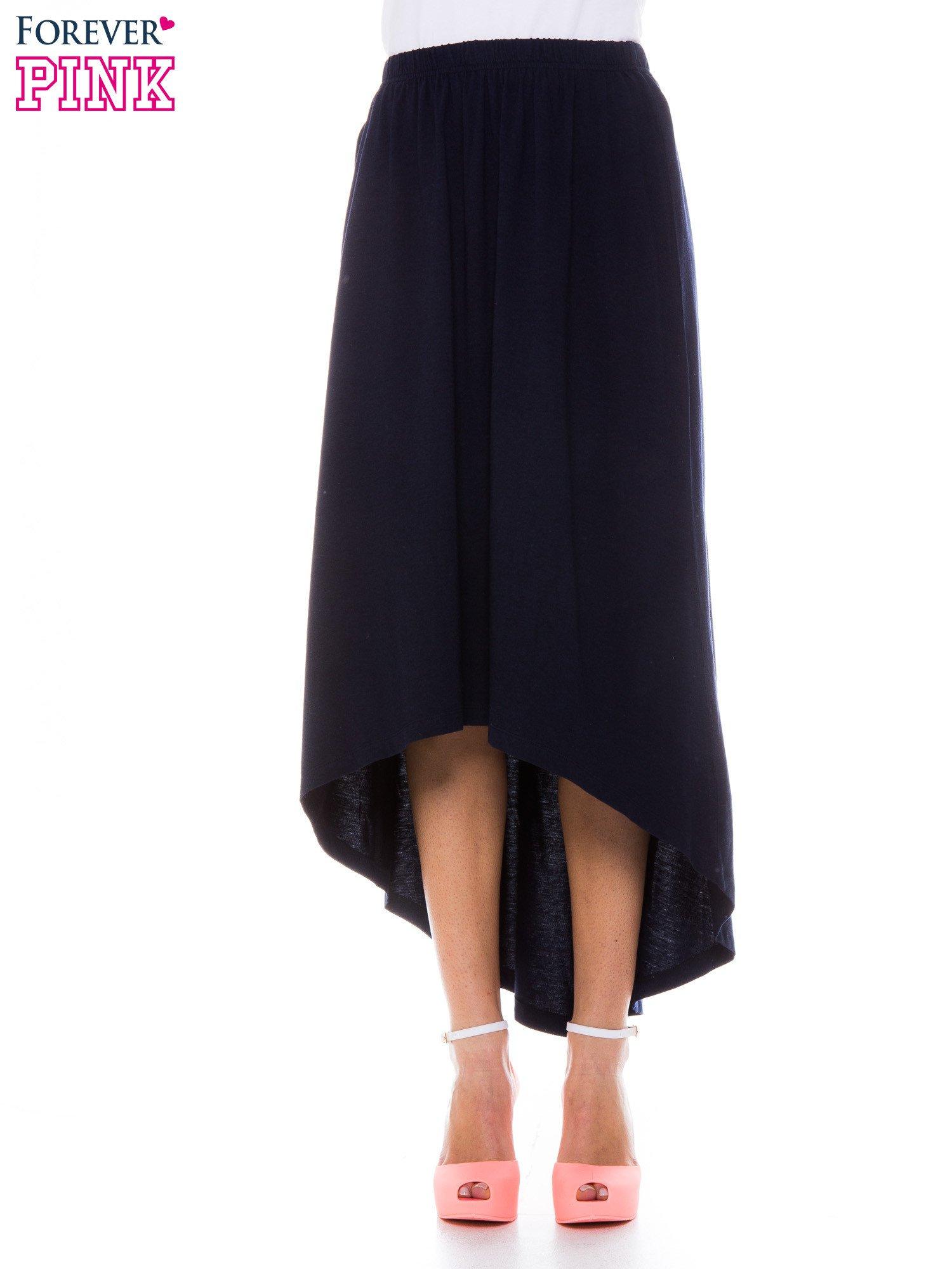 Granatowa zwiewna spódnica z dłuższym tyłem                                  zdj.                                  1