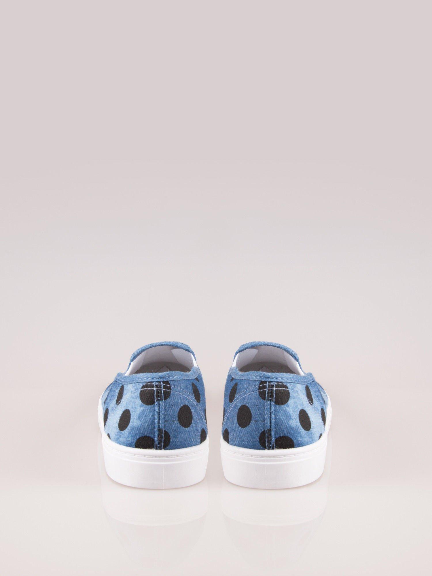 Granatowe buty slip on w groszki                                  zdj.                                  2