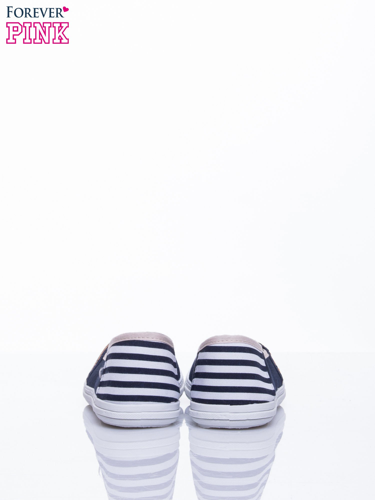 Granatowe buty sliponki w paski                                  zdj.                                  4