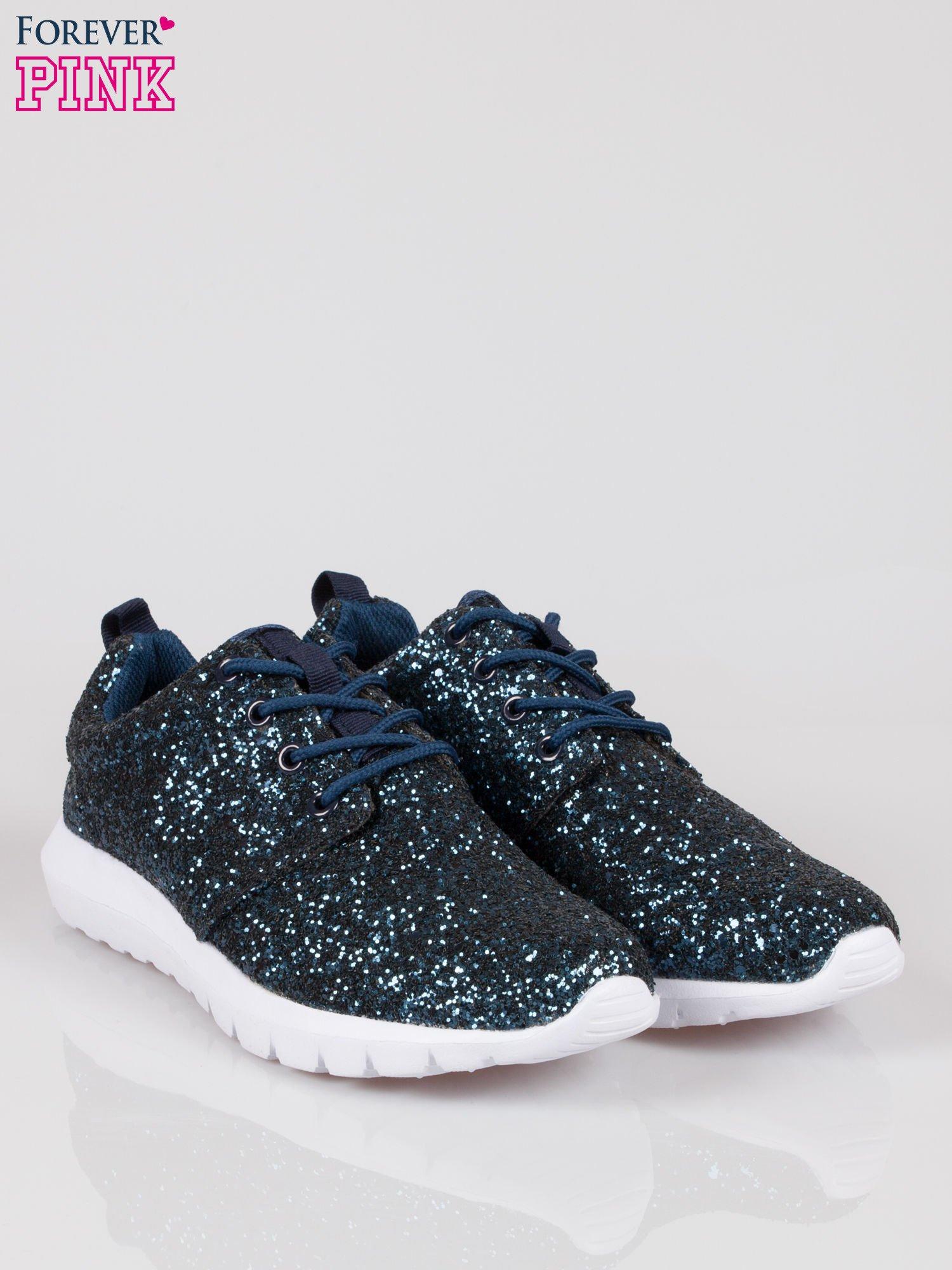 Granatowe buty sportowe textile Crummy z brokatowym efektem                                  zdj.                                  2