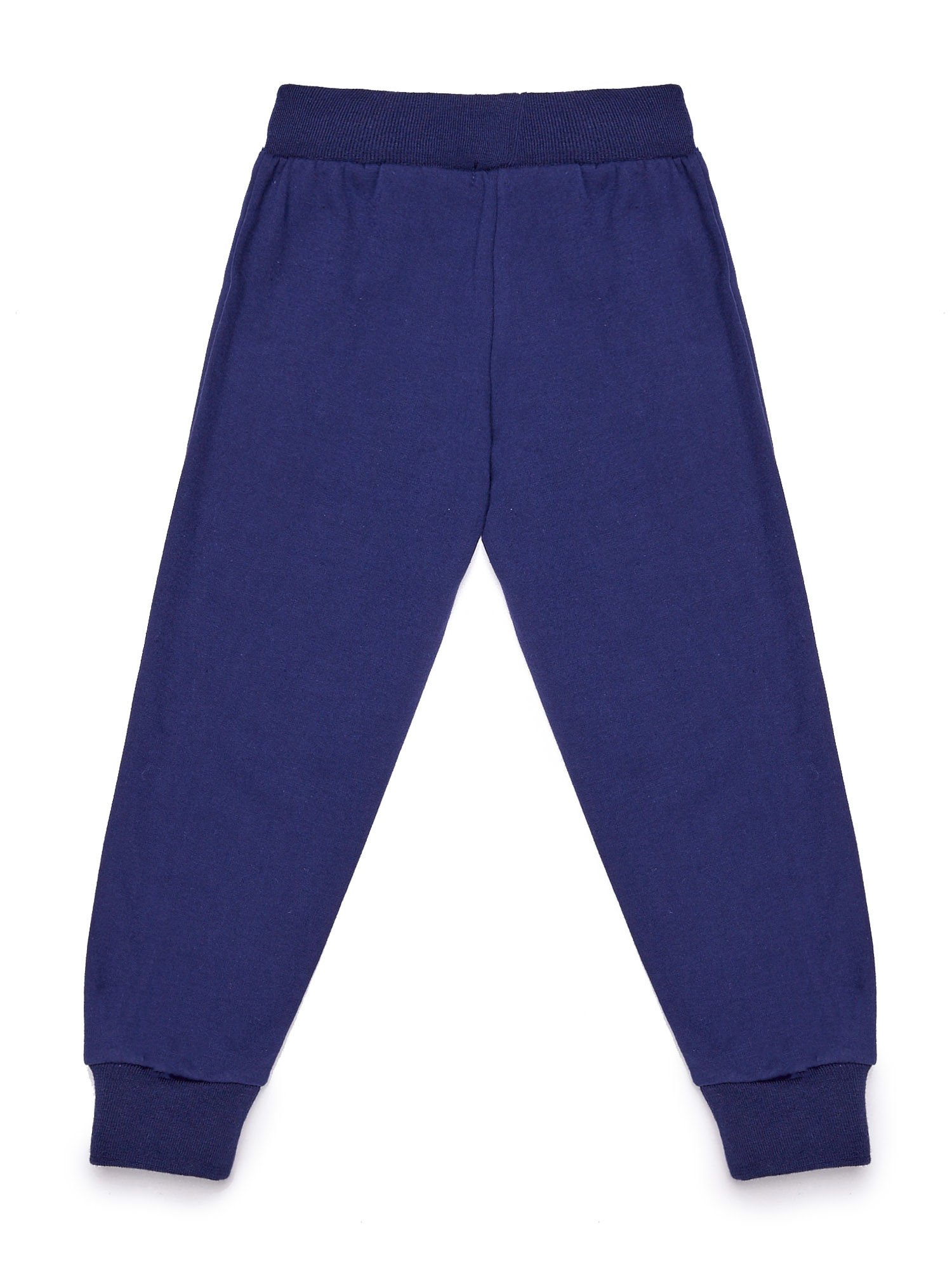 Granatowe chłopięce spodnie dresowe z napisem moro