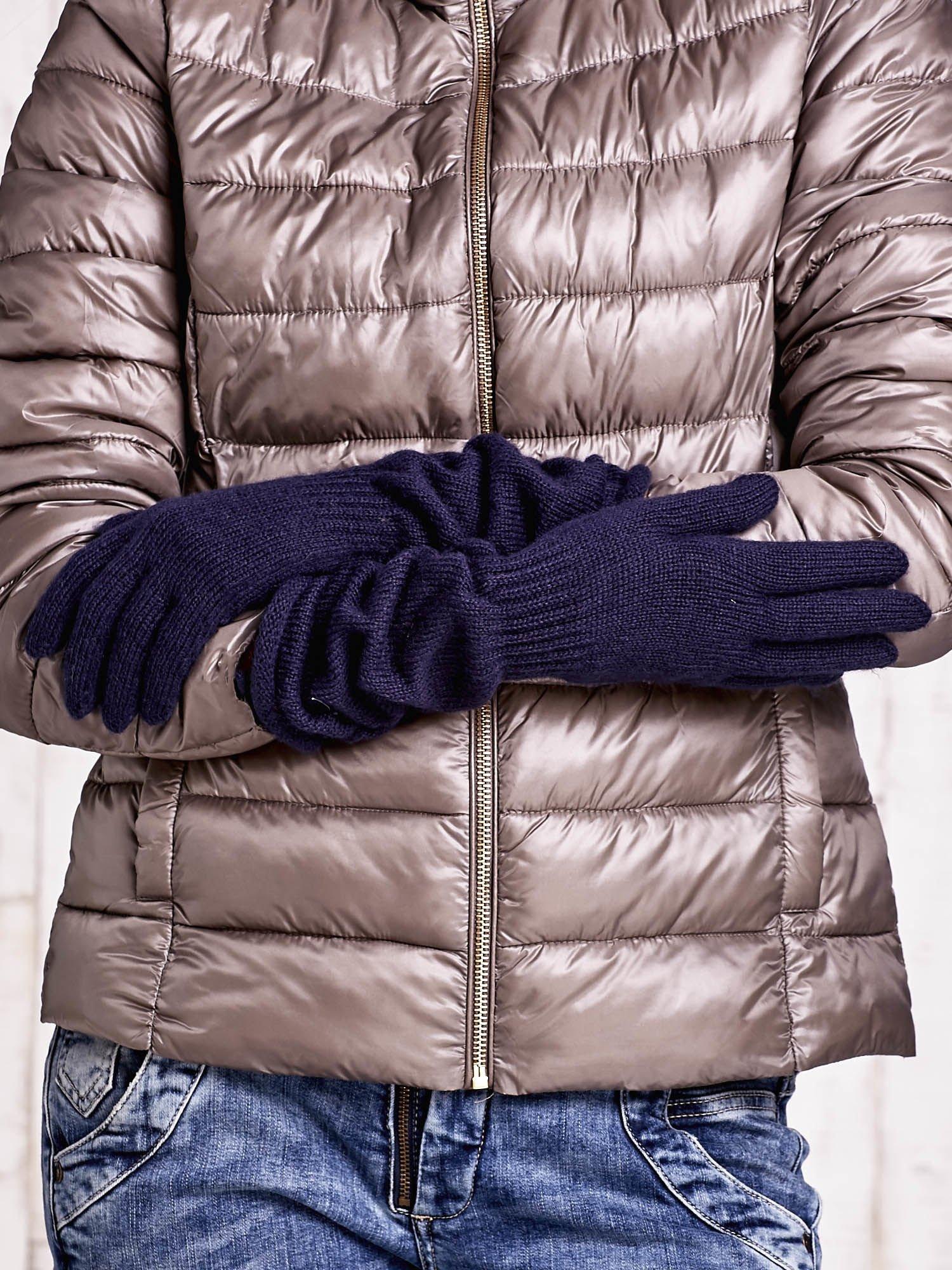 Granatowe długie rękawiczki z marszczonym ściągaczem                                   zdj.                                  2