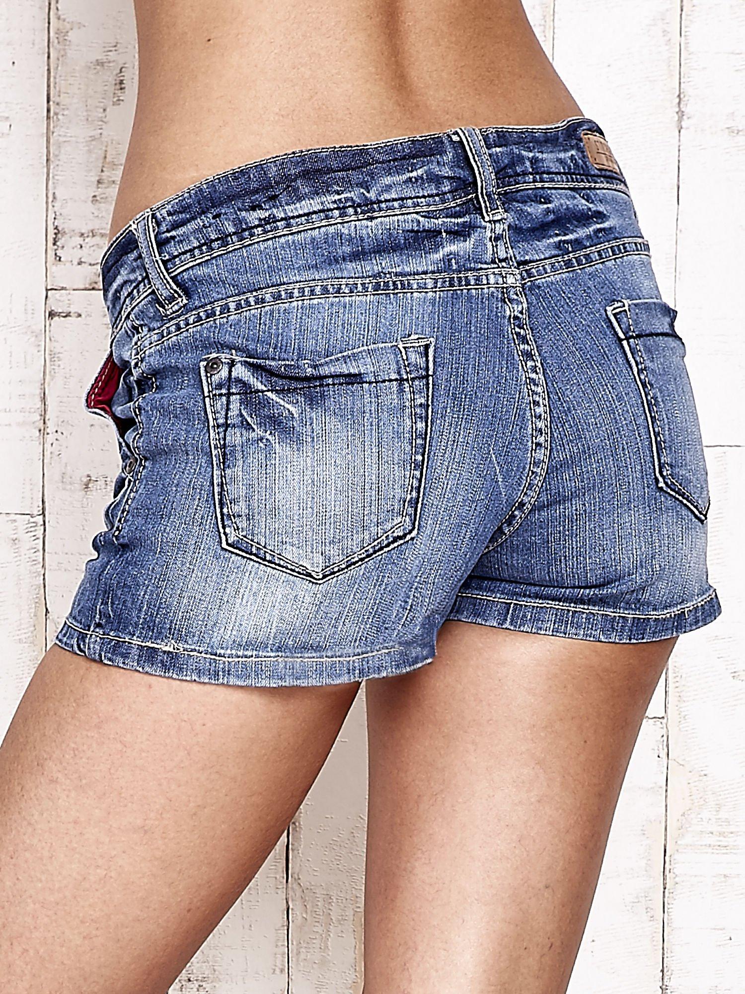 Granatowe jeansowe szorty z przetarciami                                  zdj.                                  2