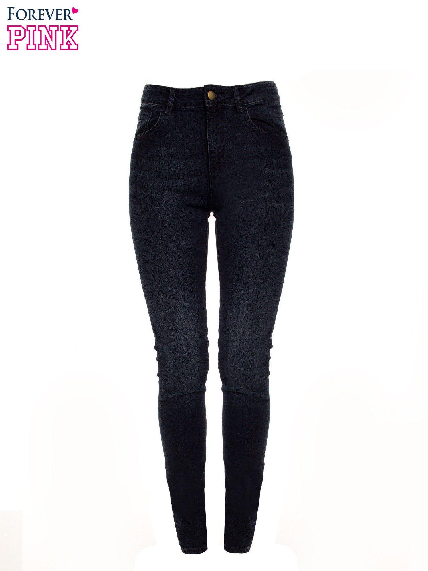 d1cb0b8610 Granatowe jeansy rurki z wysokim stanem - Spodnie jeansowe - sklep eButik.pl
