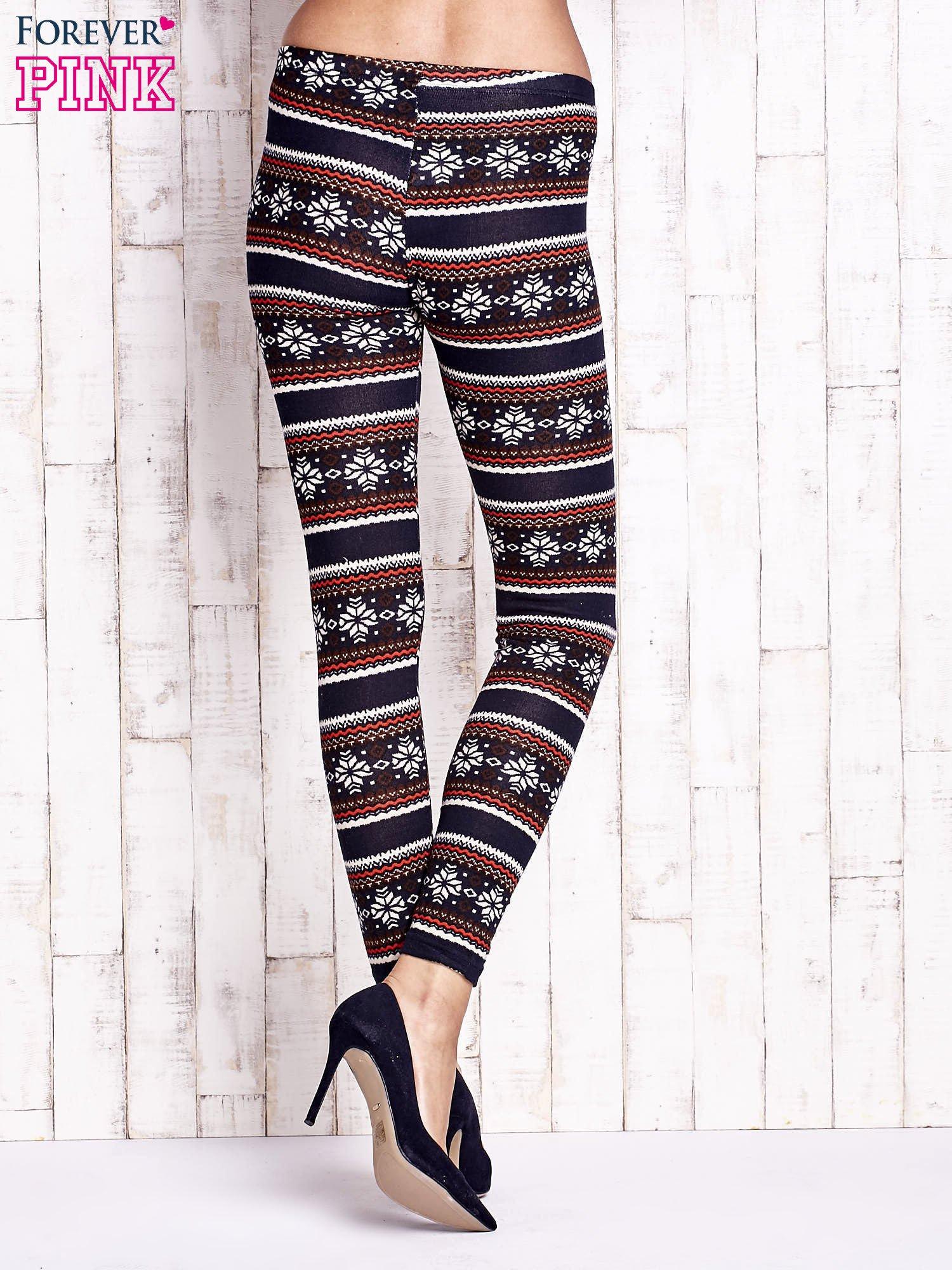 Granatowe legginsy z zimowym nadrukiem                                  zdj.                                  2