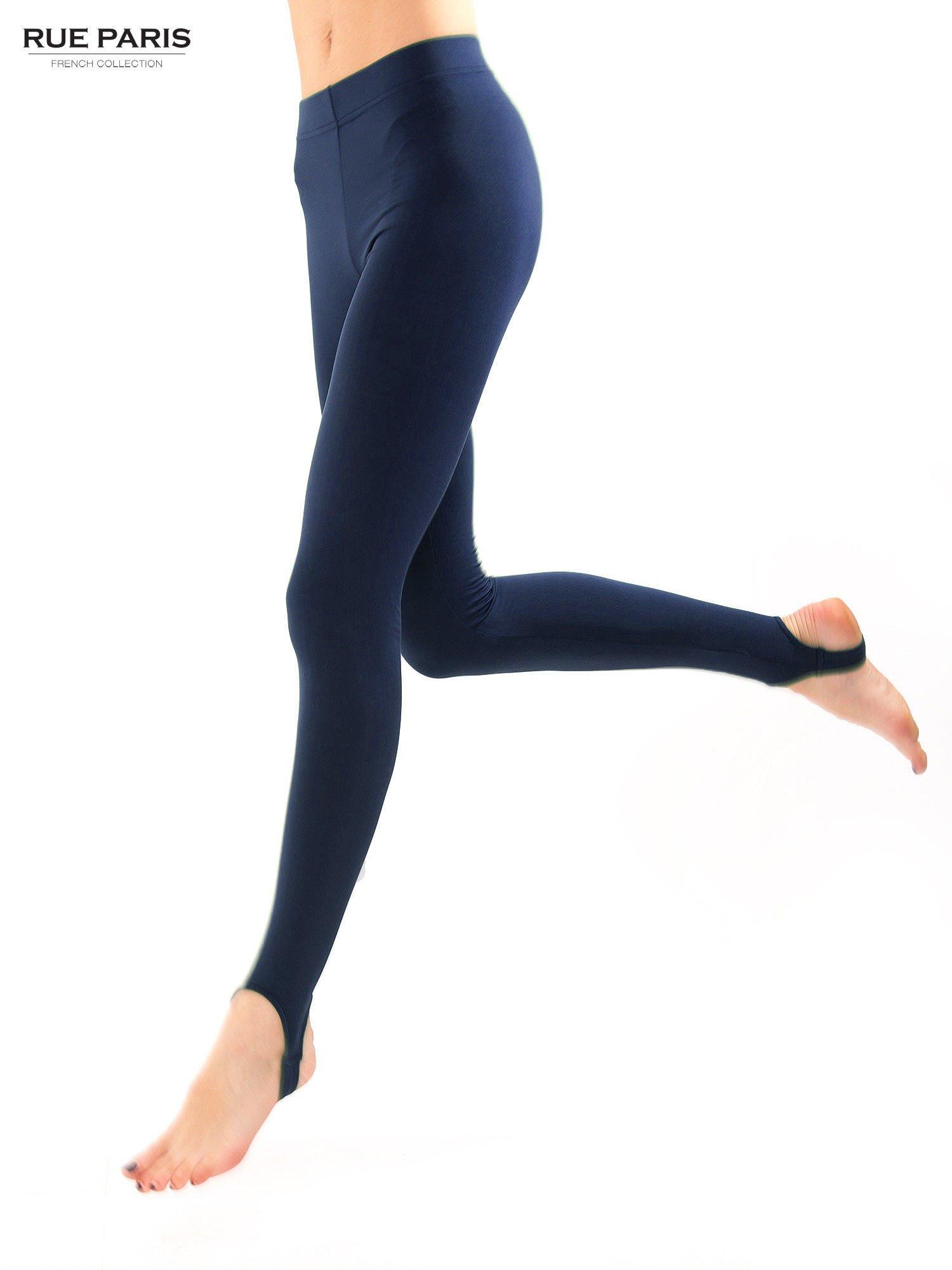 Granatowe legginsy zakładane na stopę                                  zdj.                                  3