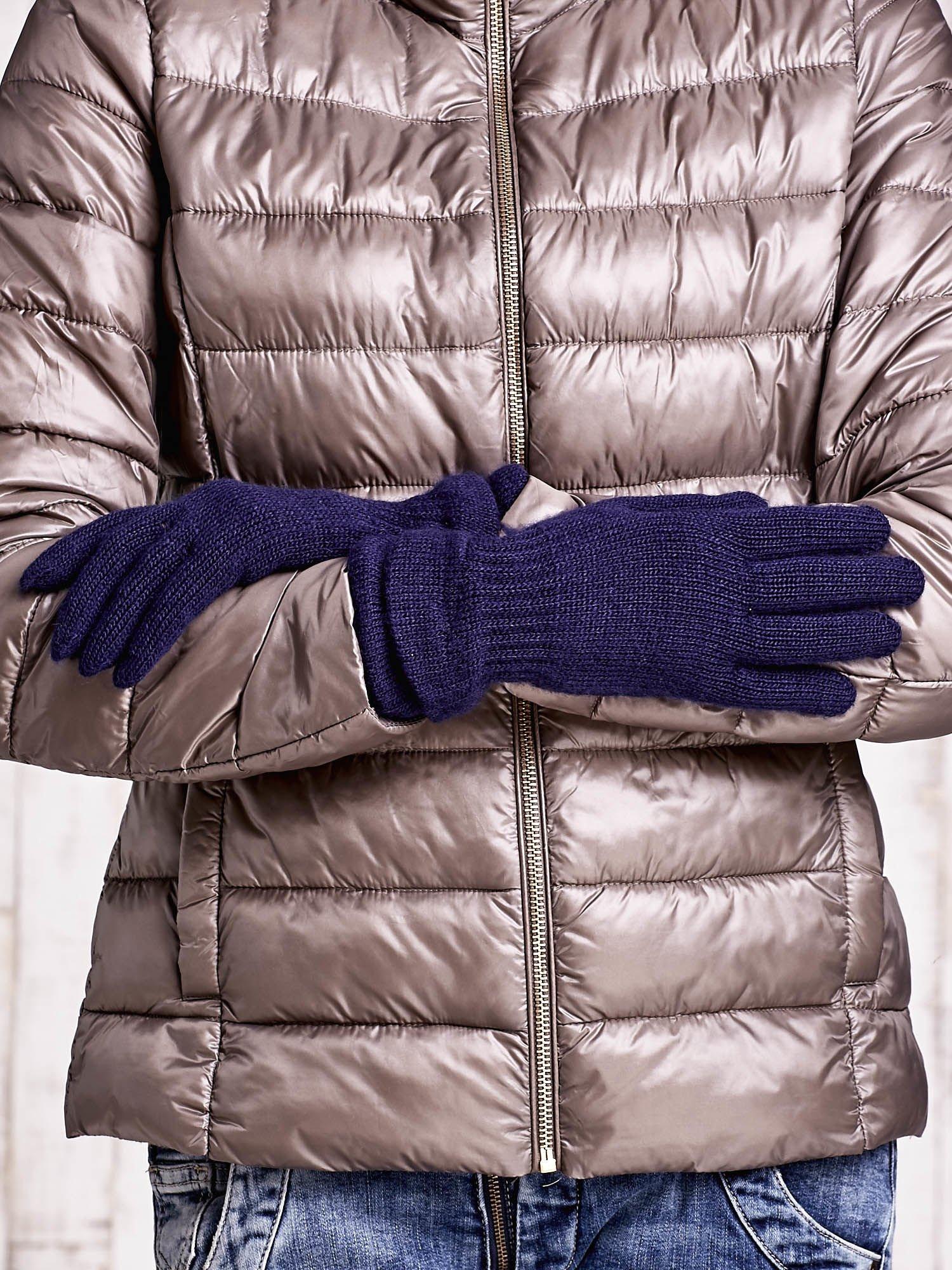 Granatowe rękawiczki ze ściągaczem i podwójnym mankietem                                  zdj.                                  2