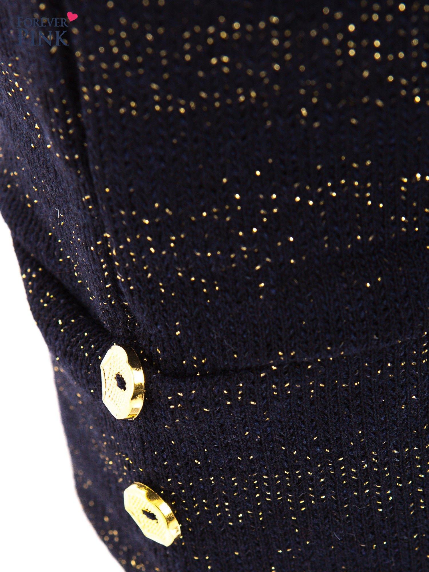 Granatowe spodnie dresowe przeplatane metaliczną nicią                                  zdj.                                  5