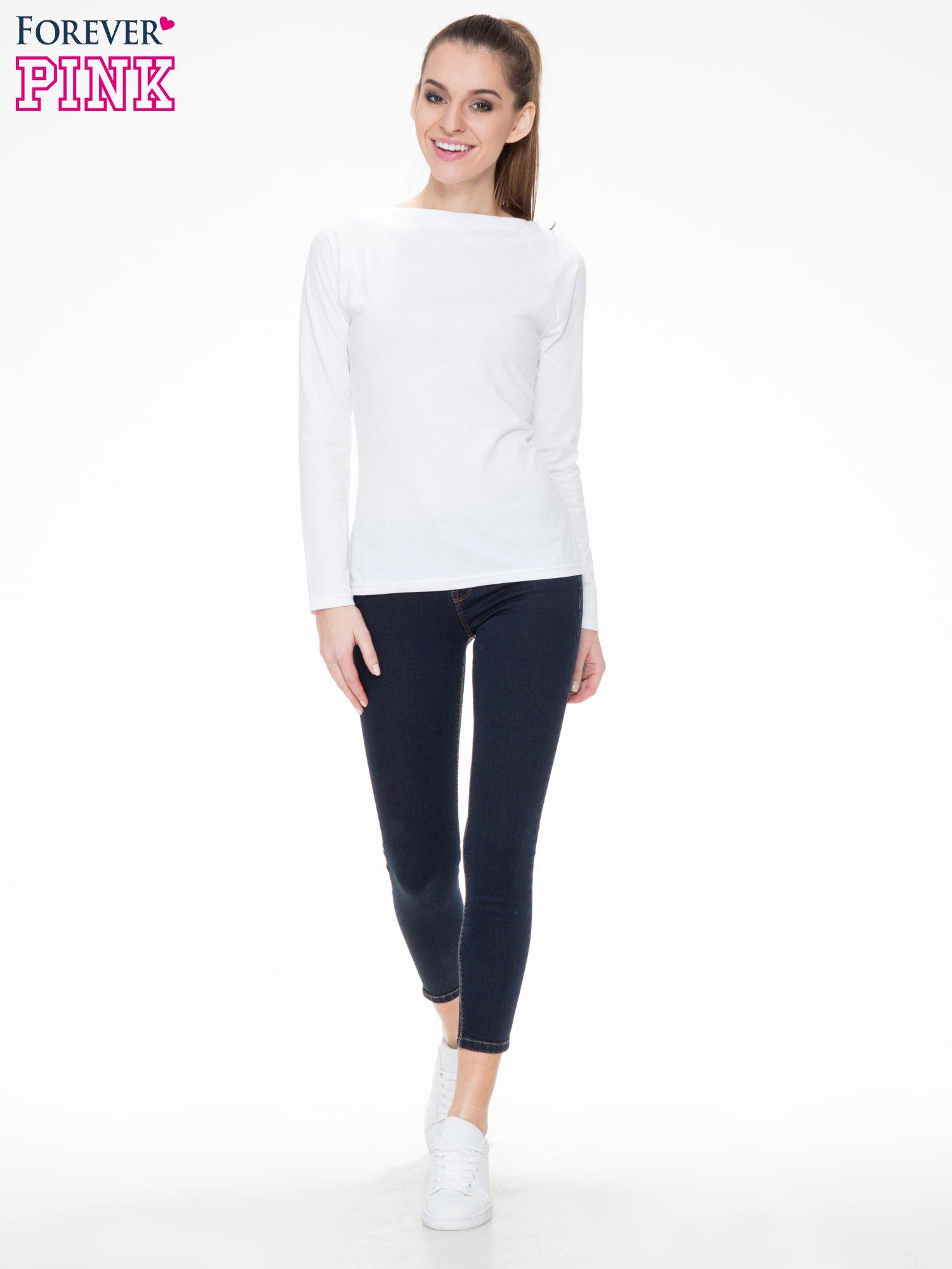 Granatowe spodnie jeansowe rurki 7/8                                  zdj.                                  2