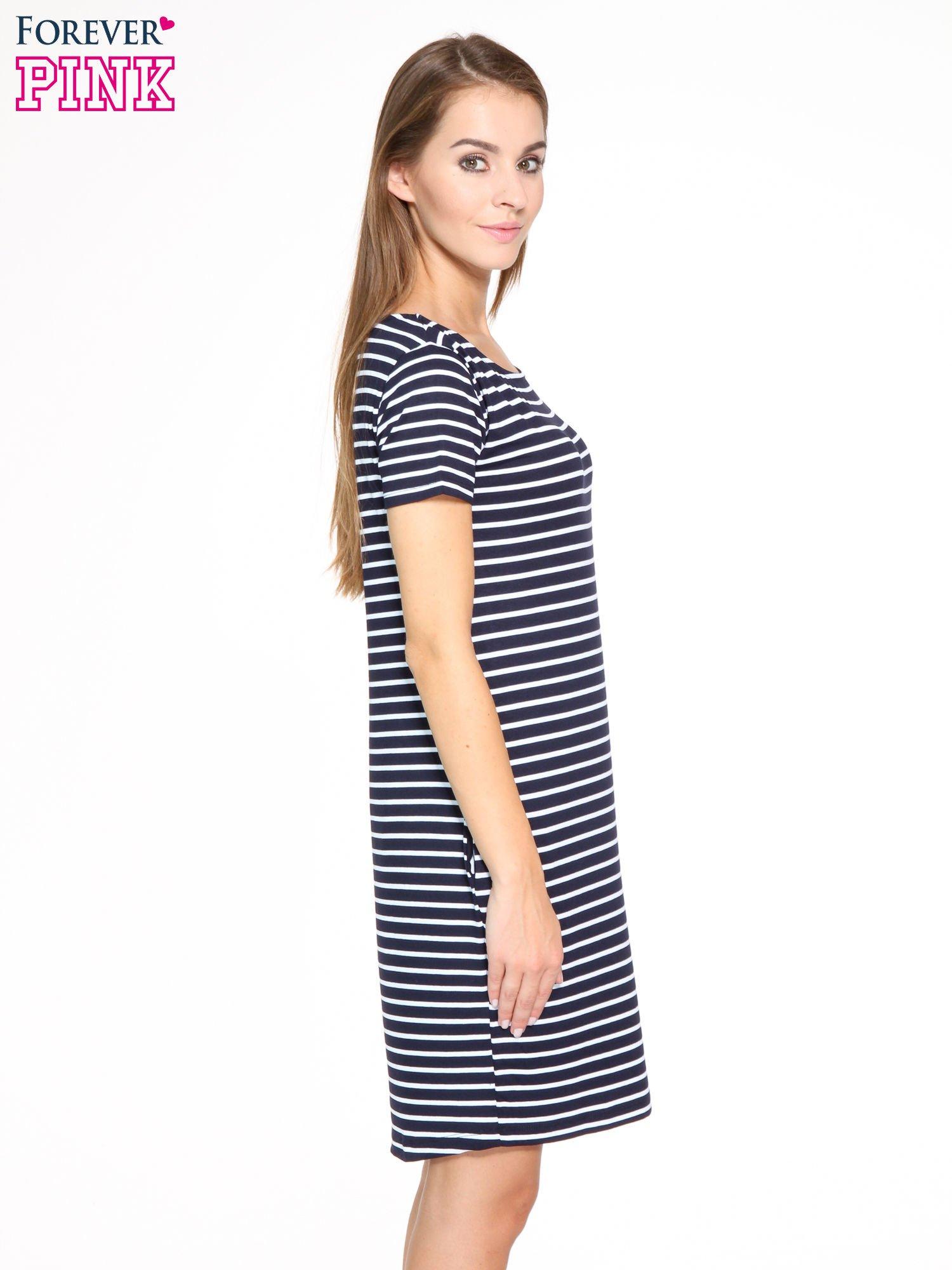 Granatowo-biała prosta sukienka w paski                                  zdj.                                  3