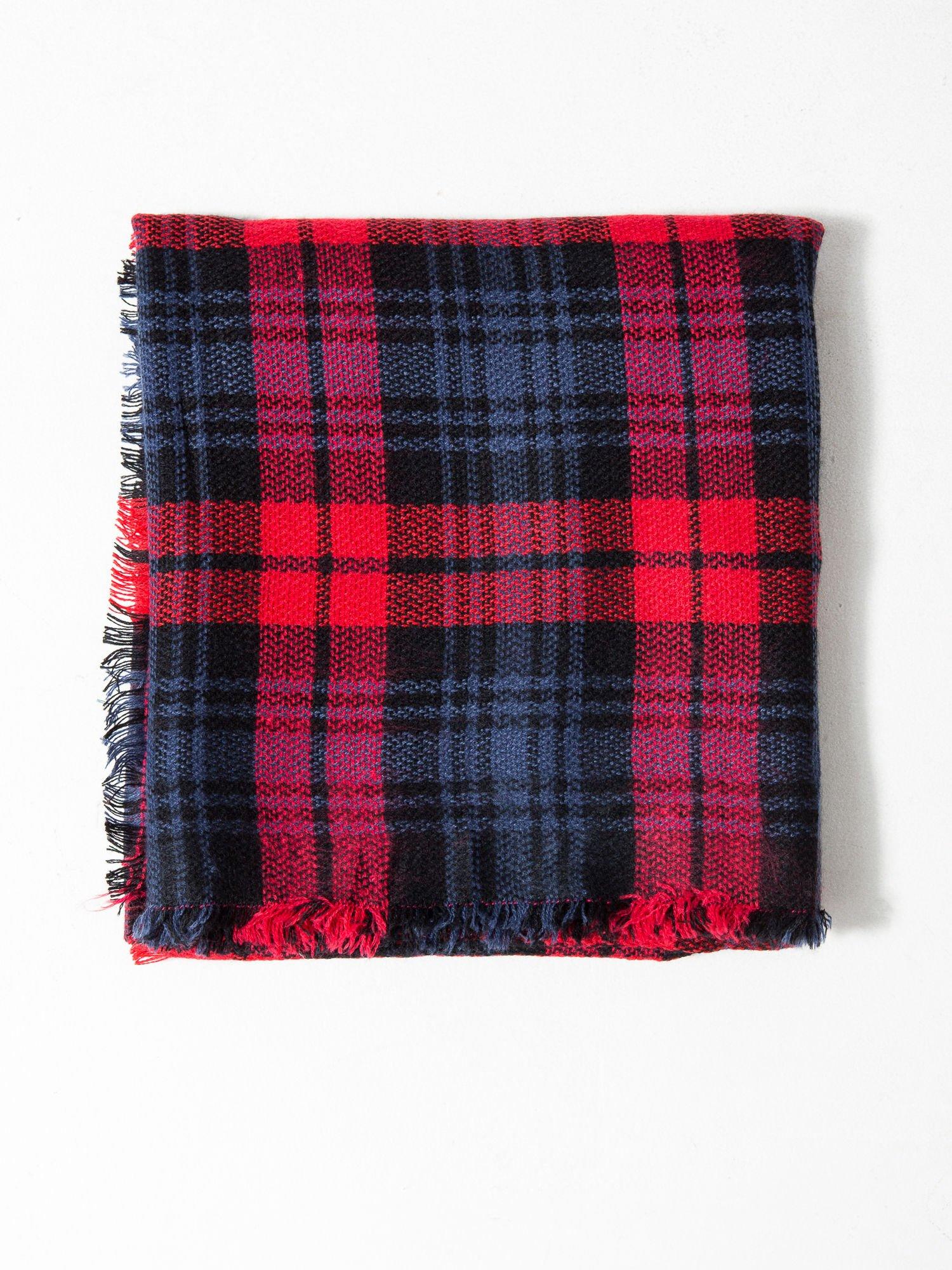Granatowo-czerwony szalik damski w kratę                                  zdj.                                  7