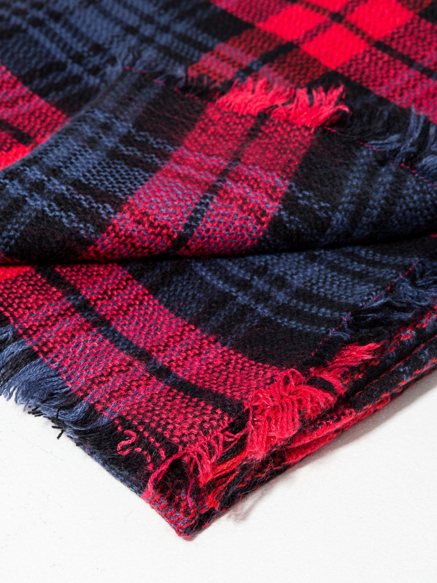 Granatowo-czerwony szalik damski w kratę                                  zdj.                                  9
