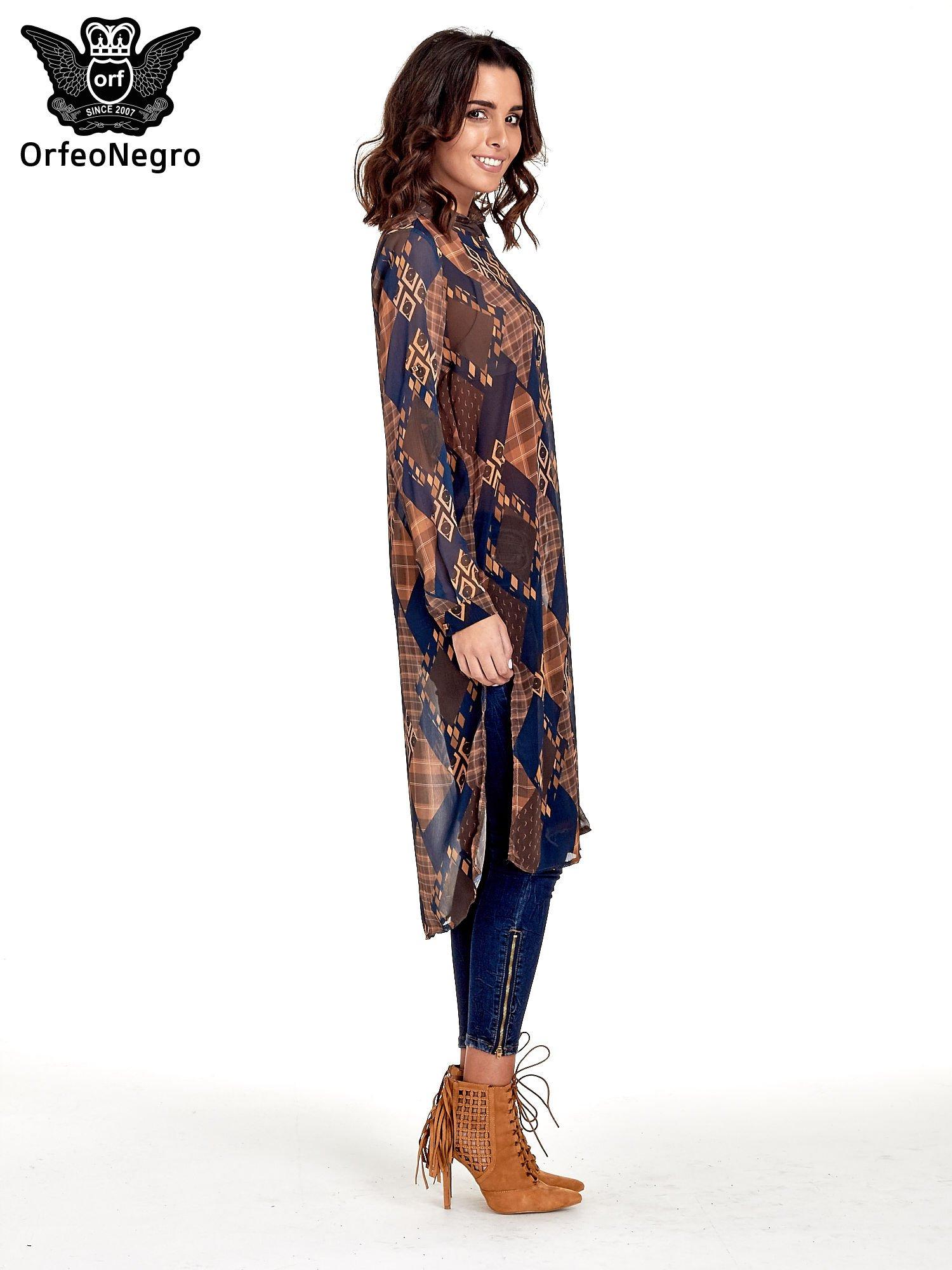 Granatowo-pomarańczowa długa koszula mgiełka w patchworkowy print                                  zdj.                                  3