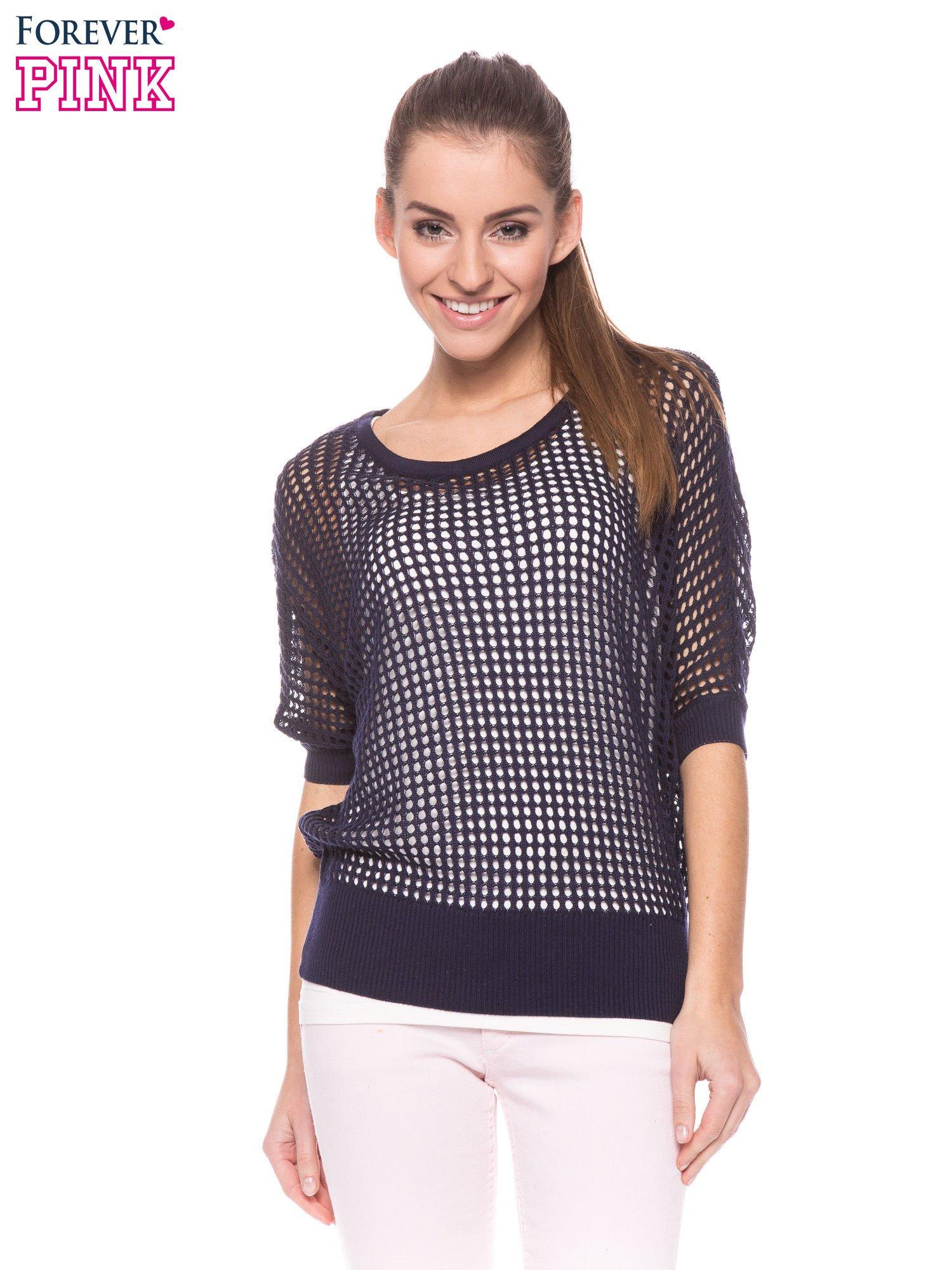 Granatowy ażurowy sweter oversize                                  zdj.                                  1