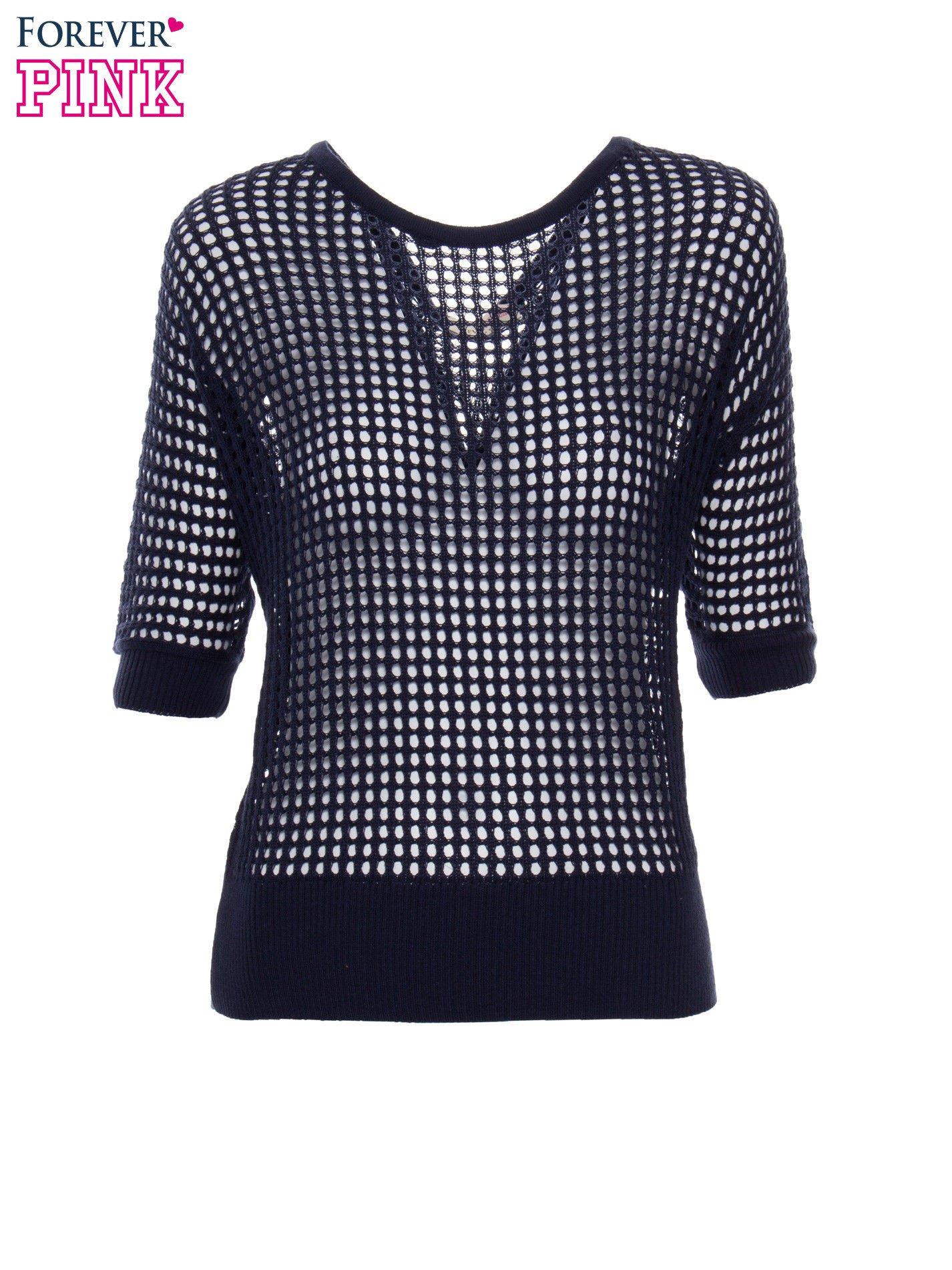 Granatowy ażurowy sweter oversize                                  zdj.                                  2