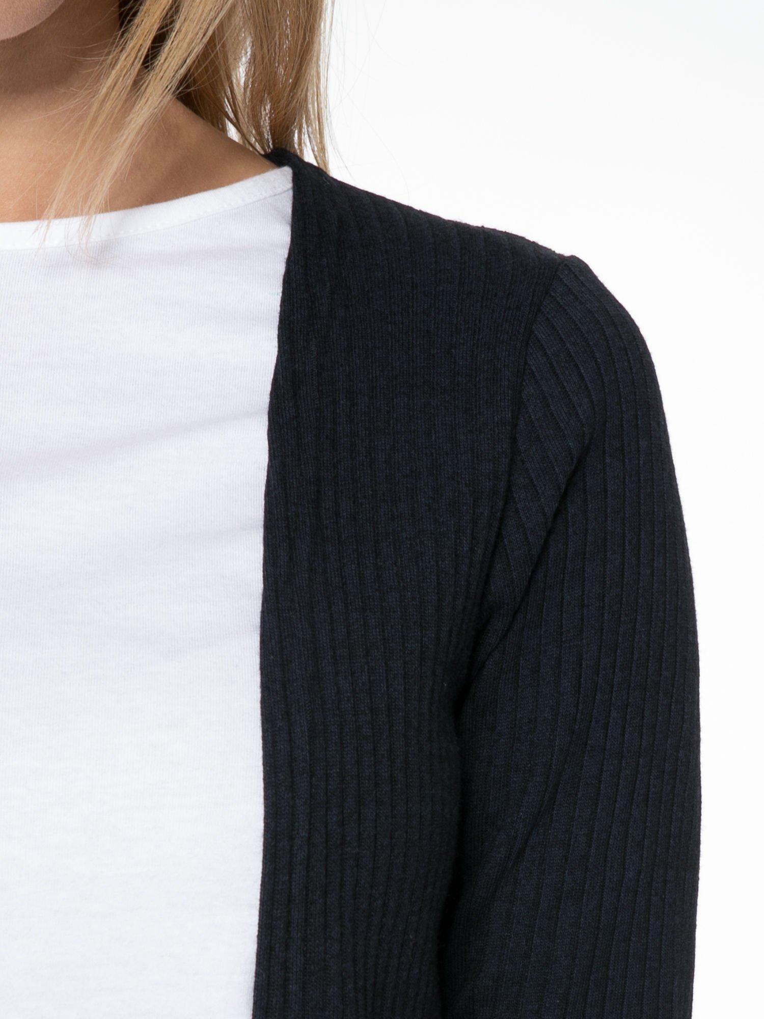 Granatowy długi prążkowany sweter kardigan                                  zdj.                                  5