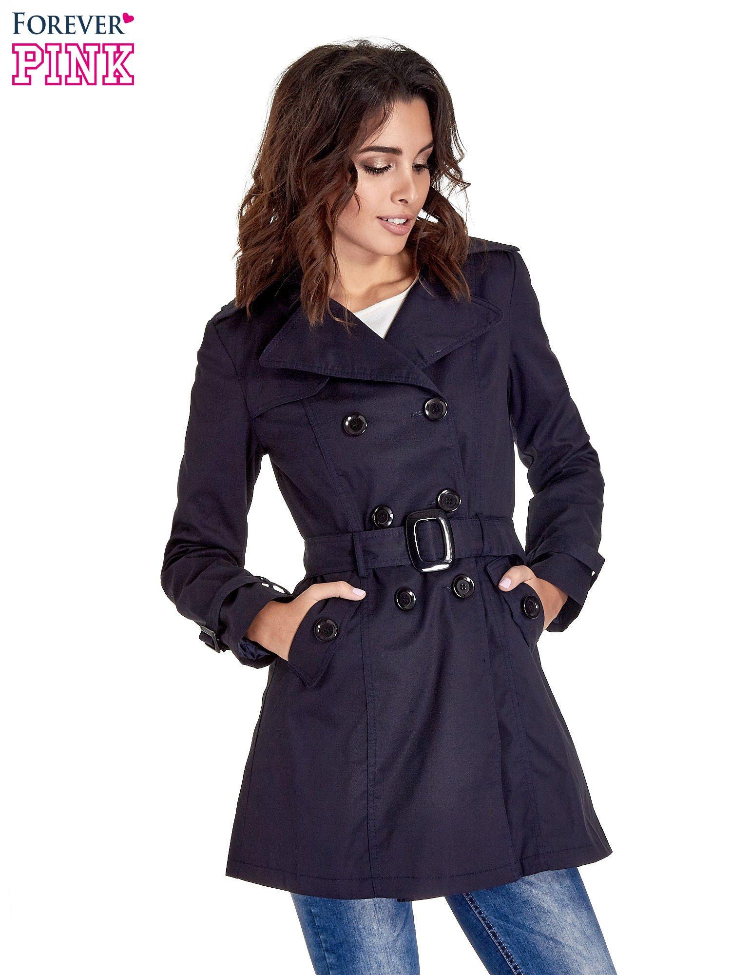 Granatowy klasyczny płaszcz typu trencz                                  zdj.                                  1