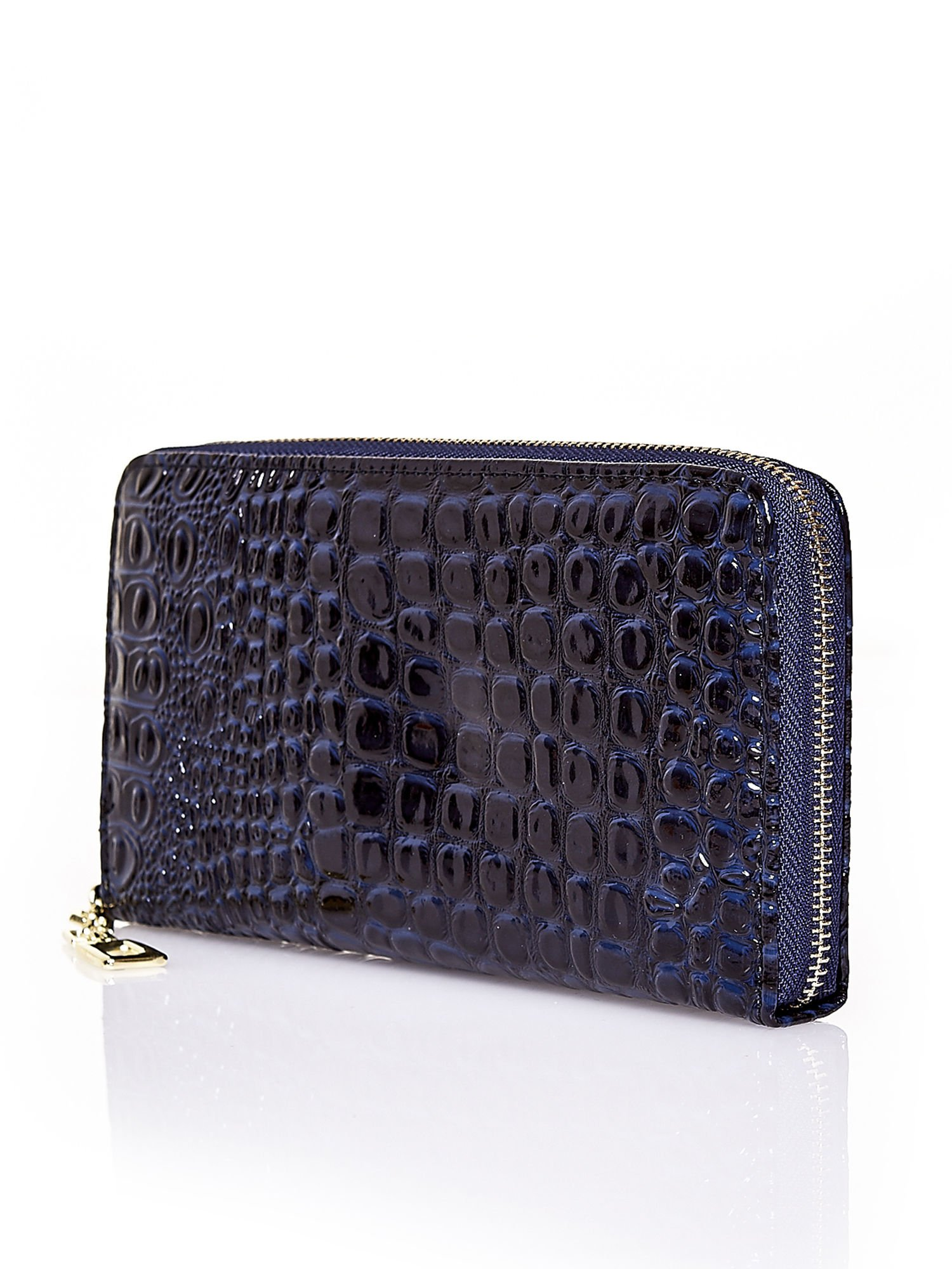 Granatowy portfel kopertówka z motywem skóry krokodyla                                  zdj.                                  2