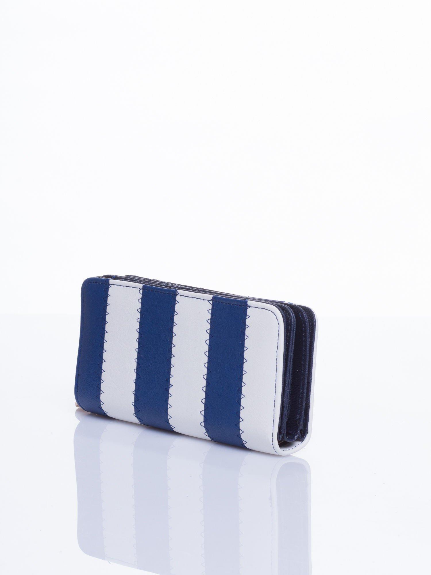 Granatowy portfel w paski                                  zdj.                                  2