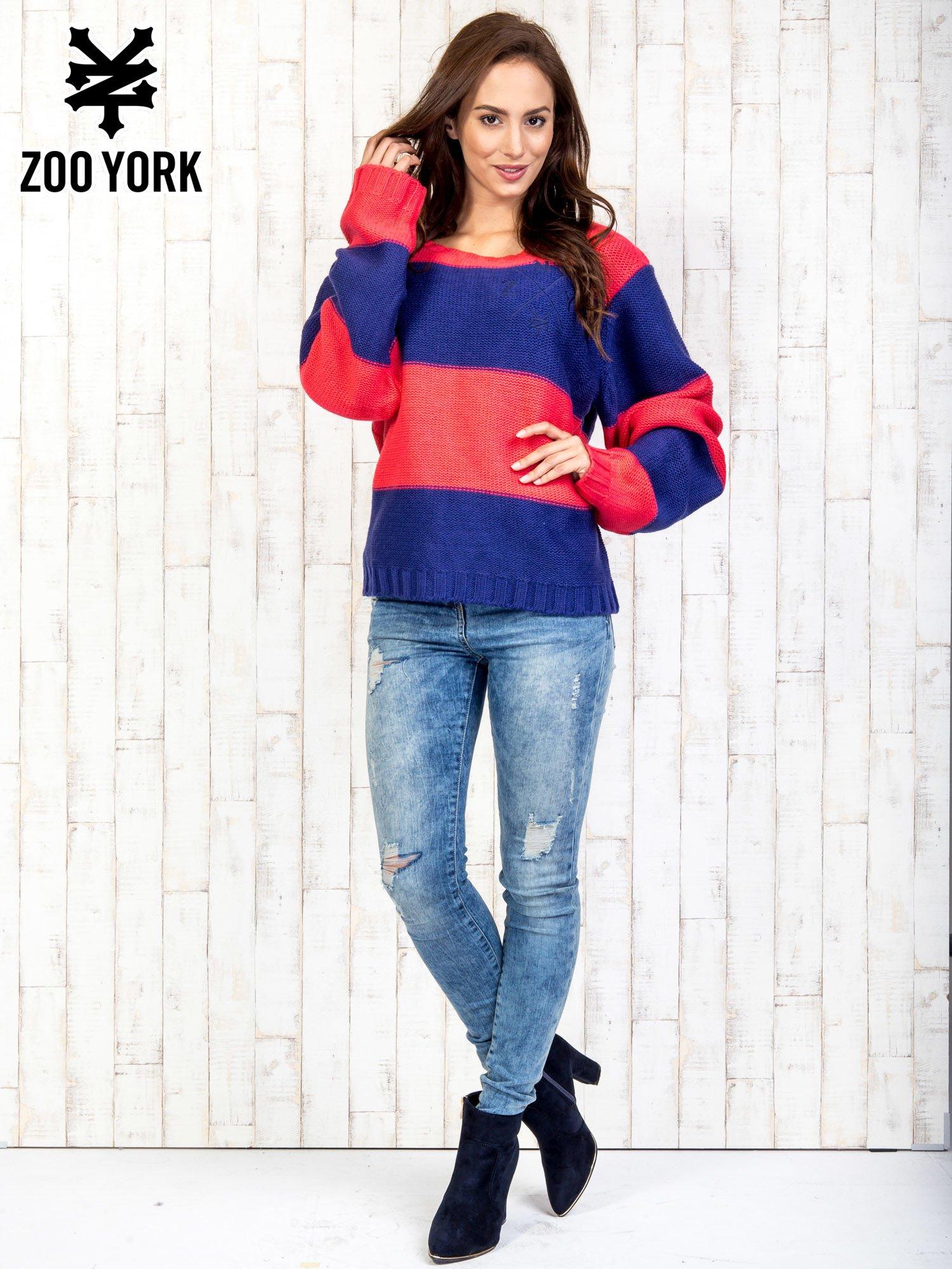 Granatowy sweter w pasy                                   zdj.                                  2