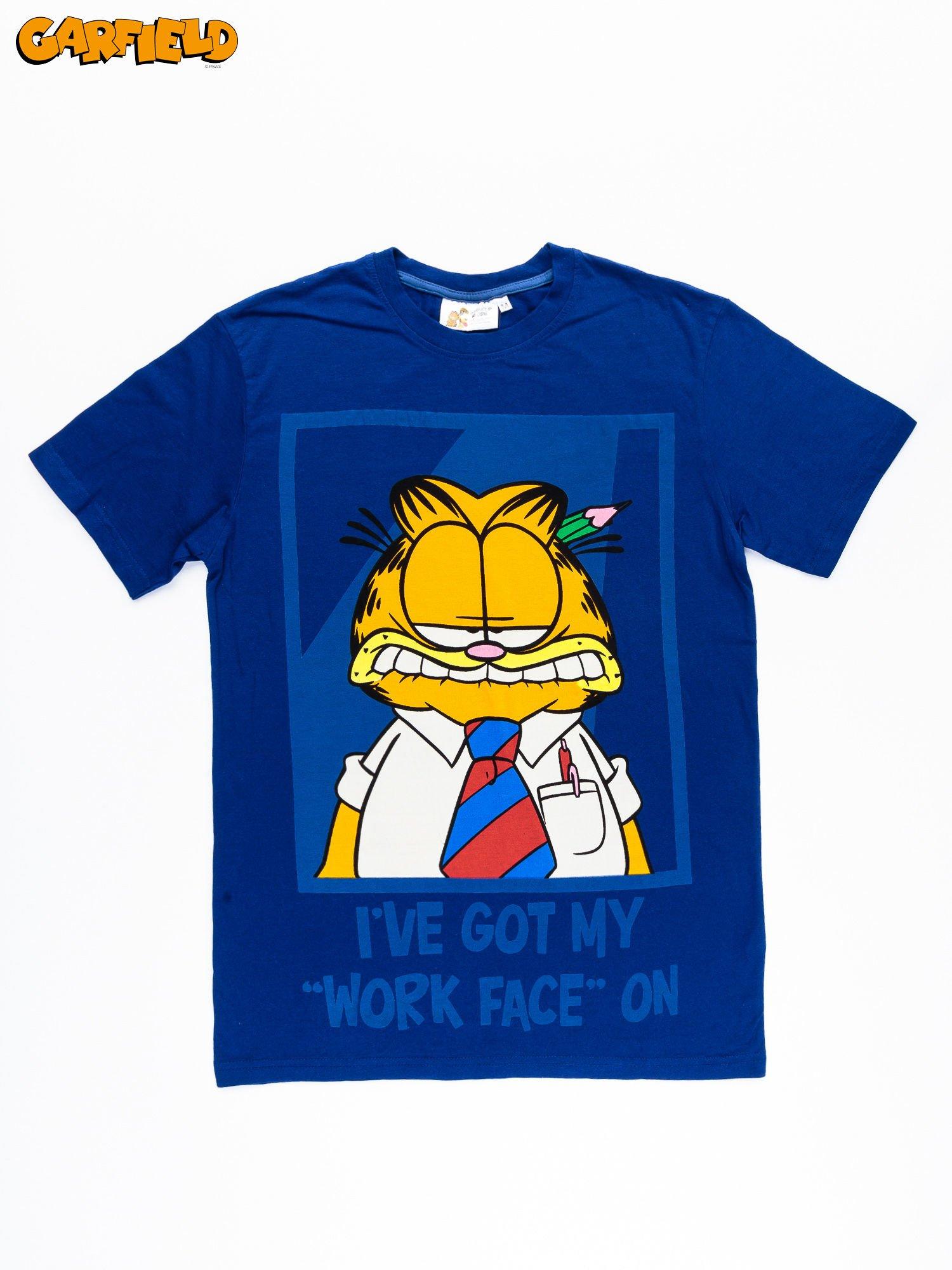 Granatowy t-shirt męski GARFIELD                                  zdj.                                  11