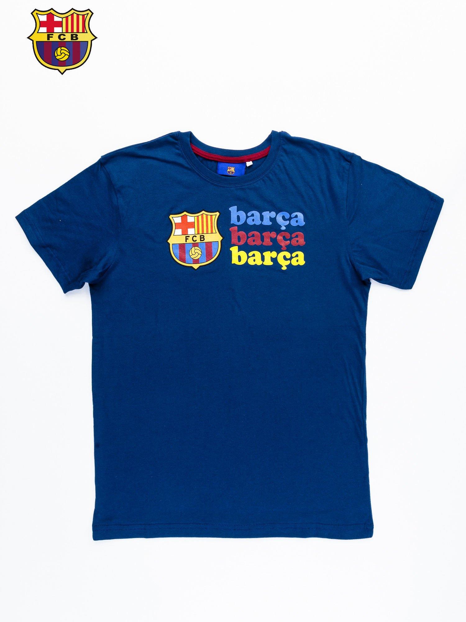 Granatowy t-shirt męski z nadrukiem FC BARCELONA                                  zdj.                                  9