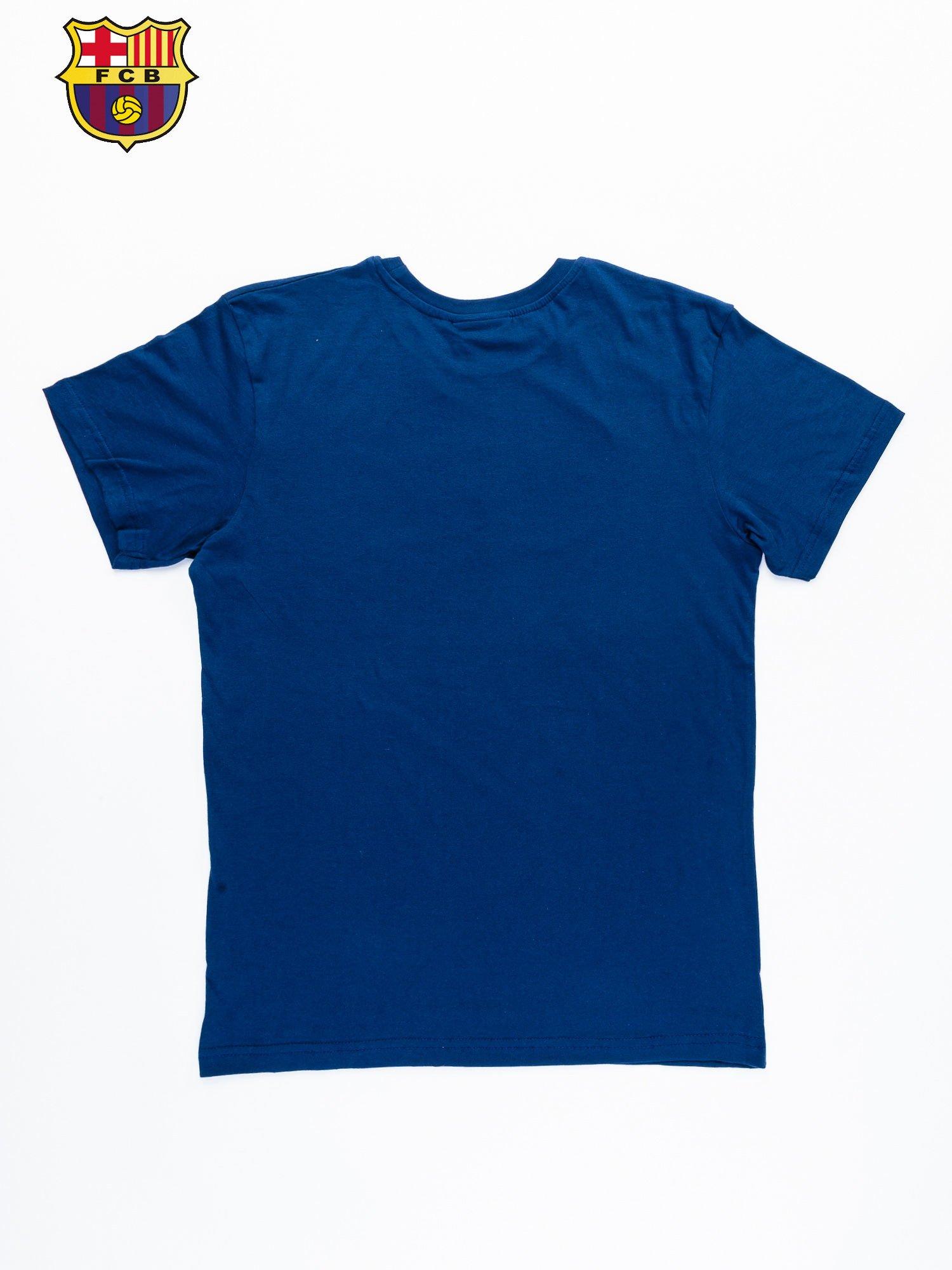 Granatowy t-shirt męski z nadrukiem FC BARCELONA                                  zdj.                                  10