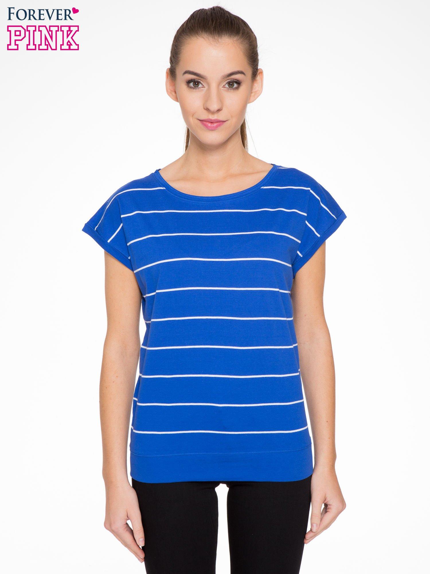 Granatowy  t-shirt w paski                                   zdj.                                  1