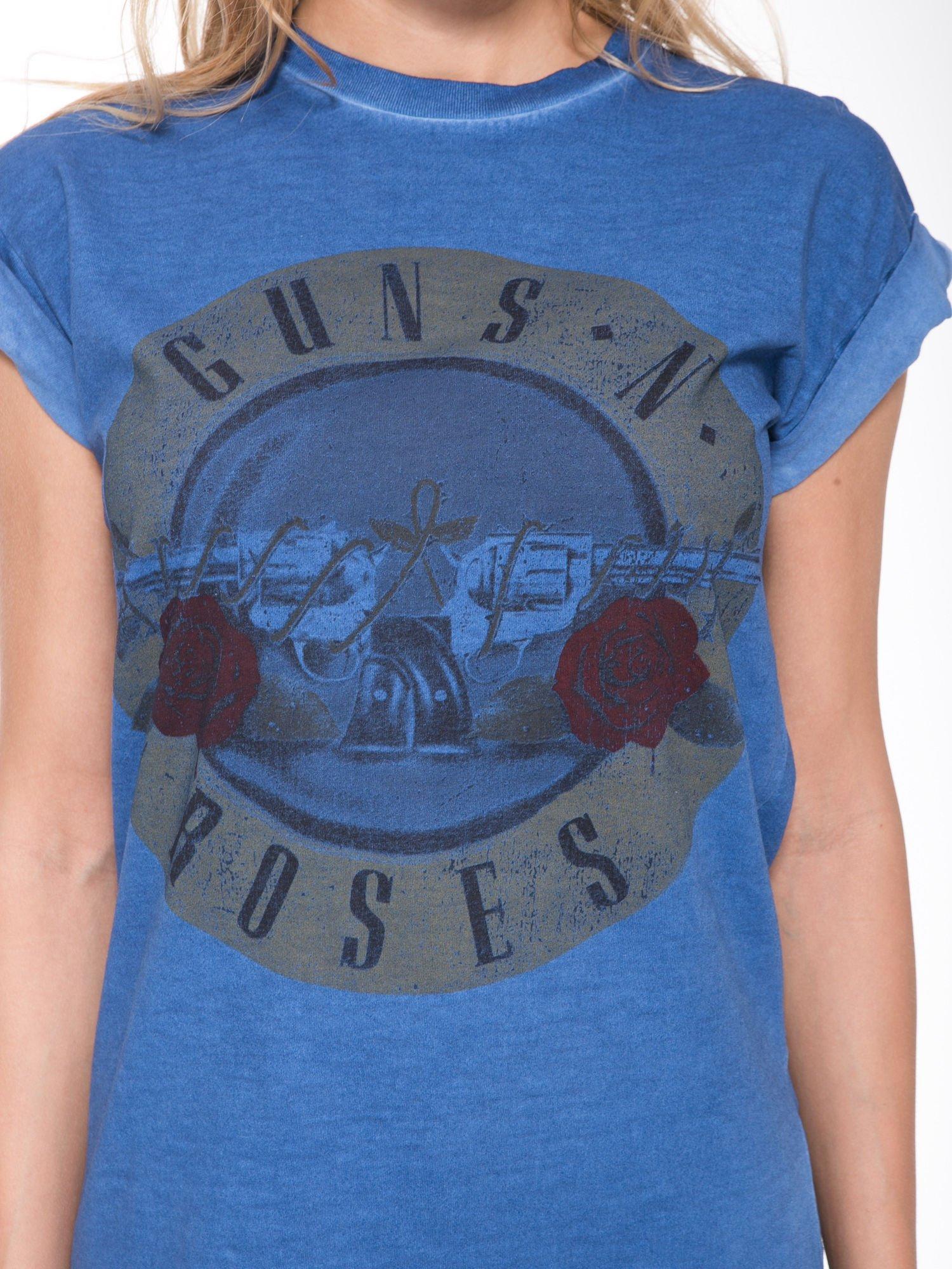 Granatowy t-shirt z nadrukiem GUNS N' ROSES                                  zdj.                                  6