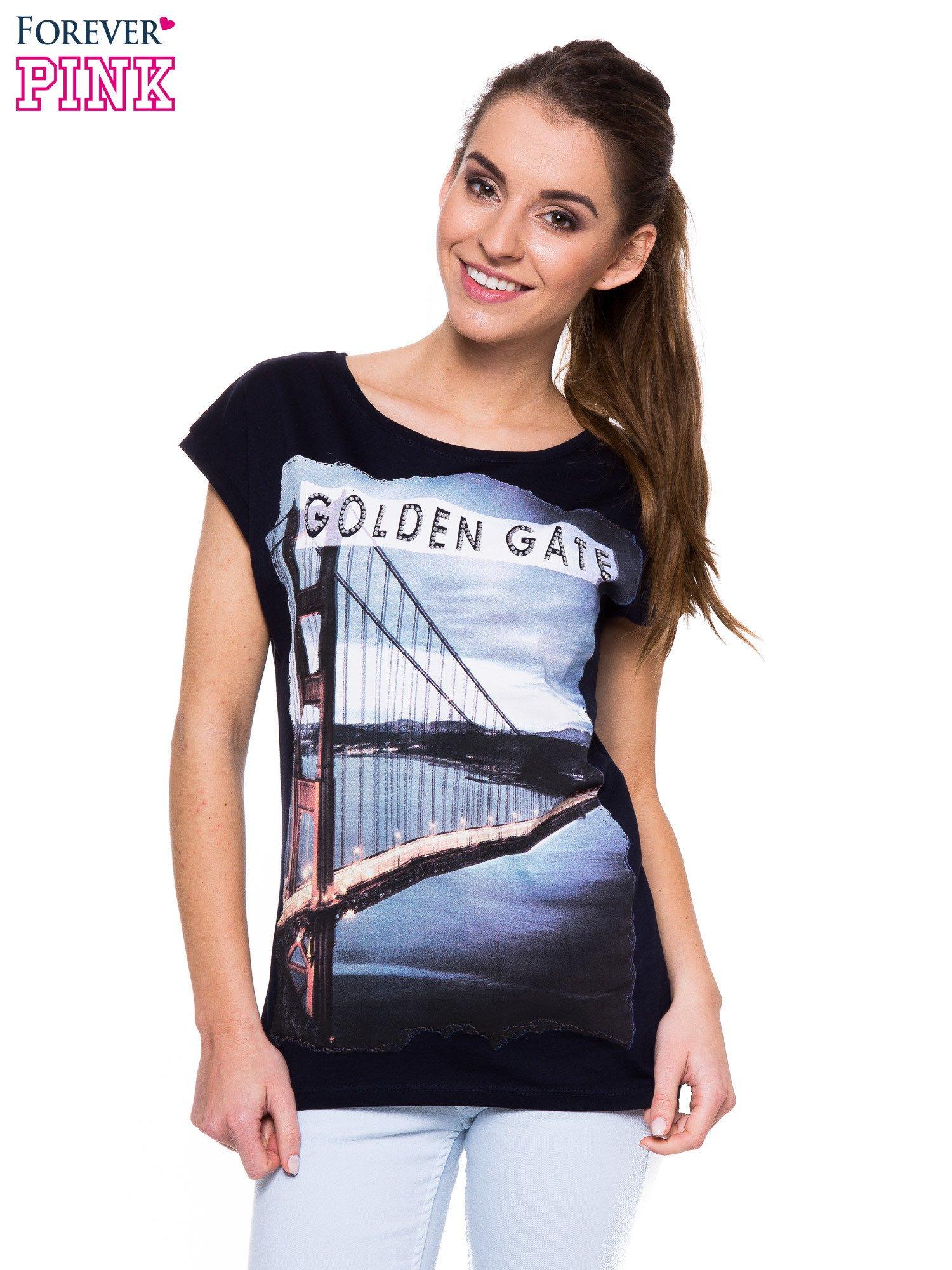 Granatowy t-shirt z nadrukiem San Francisco                                  zdj.                                  1