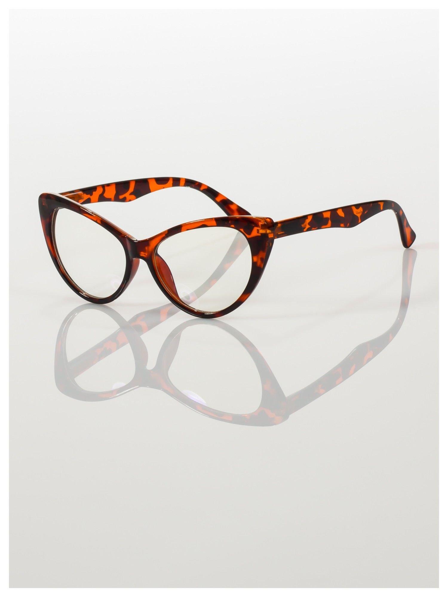HIT 2016 Modne okulary zerówki typu KOCIE OCZY w stylu Marlin Monroe; soczewki ANTYREFLEKS+system FLEX na zausznikach                                  zdj.                                  1