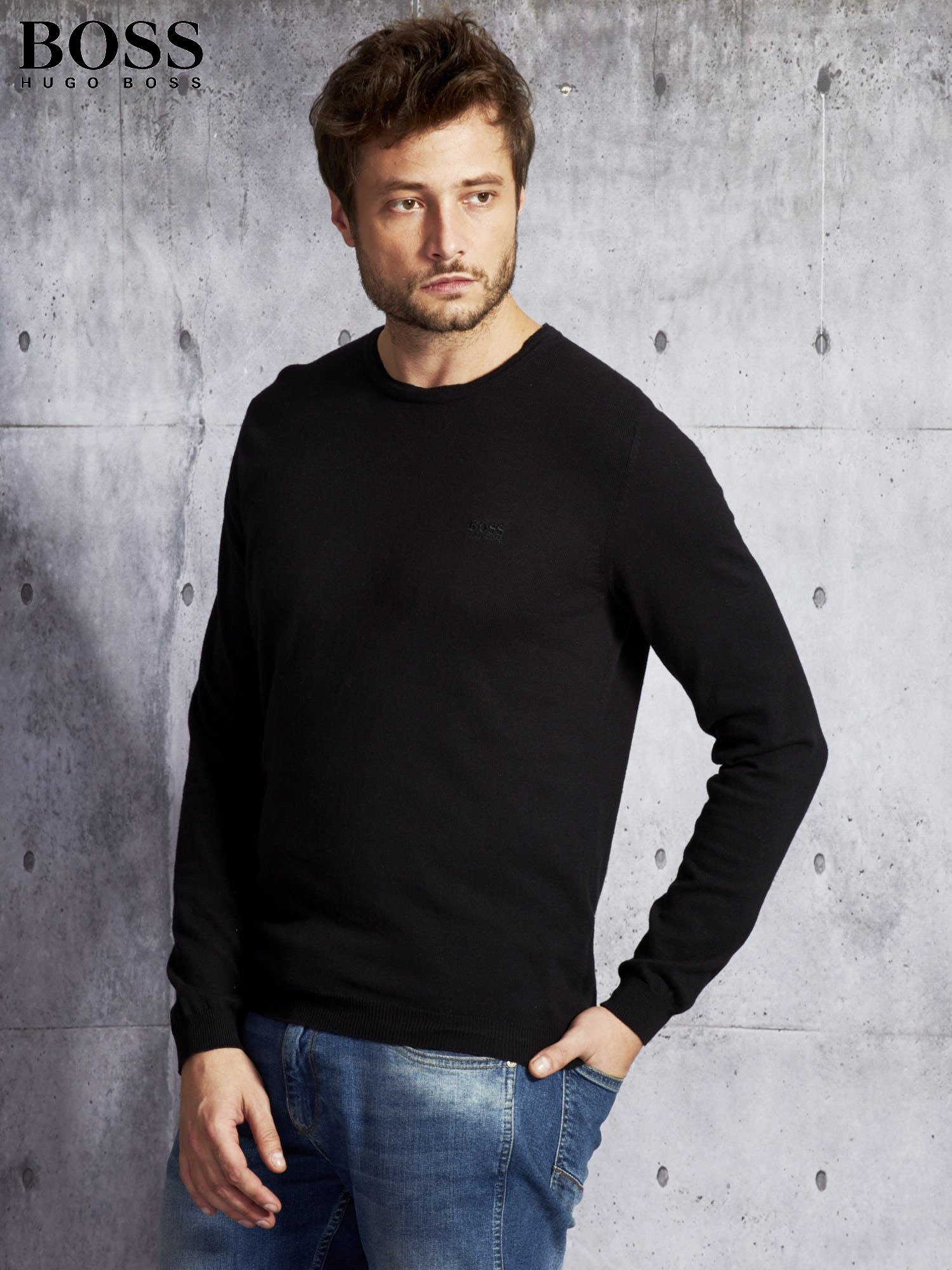 f3d658192834a HUGO BOSS Czarny sweter męski - Mężczyźni Sweter męski - sklep eButik.pl
