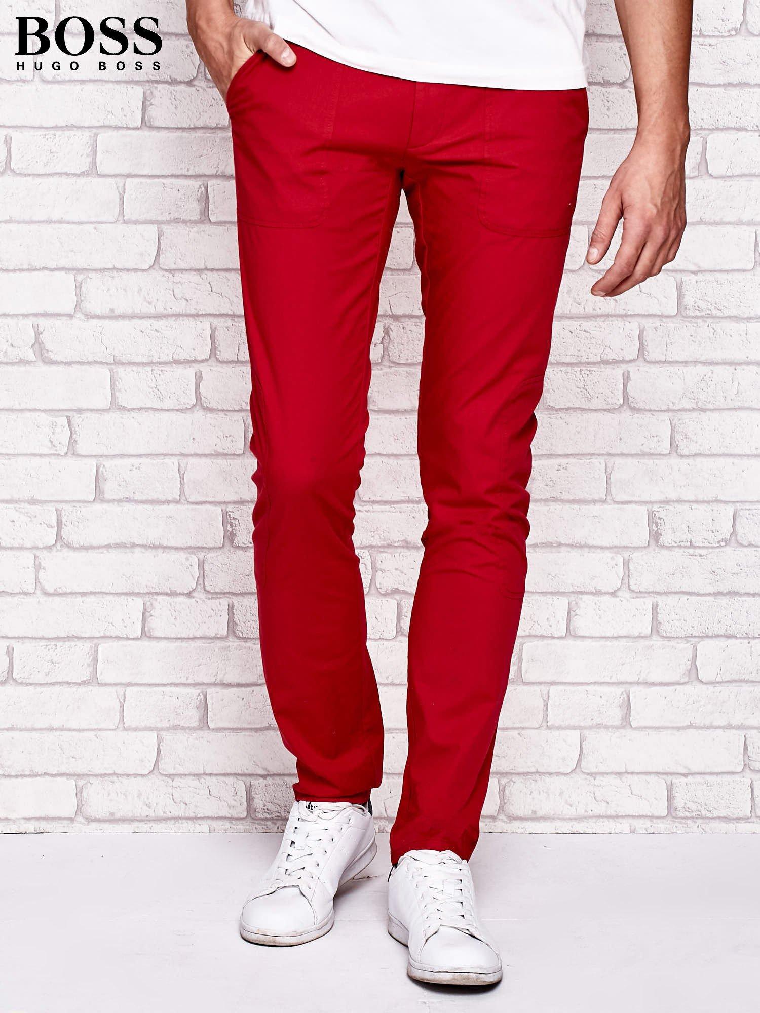 cef835f371f9f HUGO BOSS Czerwone spodnie męskie z przeszyciami - Mężczyźni Spodnie ...