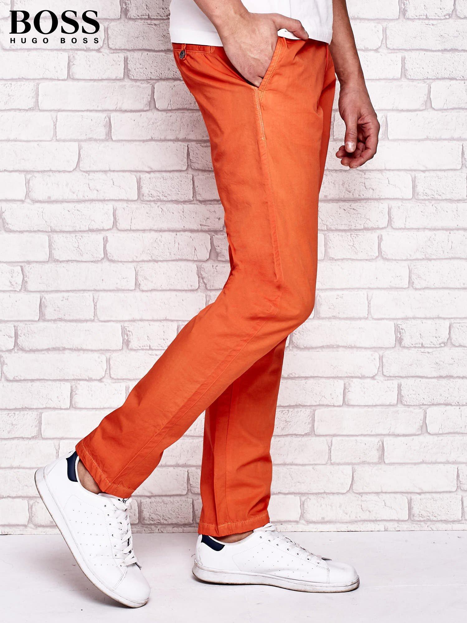 736e4eadbc1da HUGO BOSS Pomarańczowe spodnie męskie - Mężczyźni Spodnie z ...