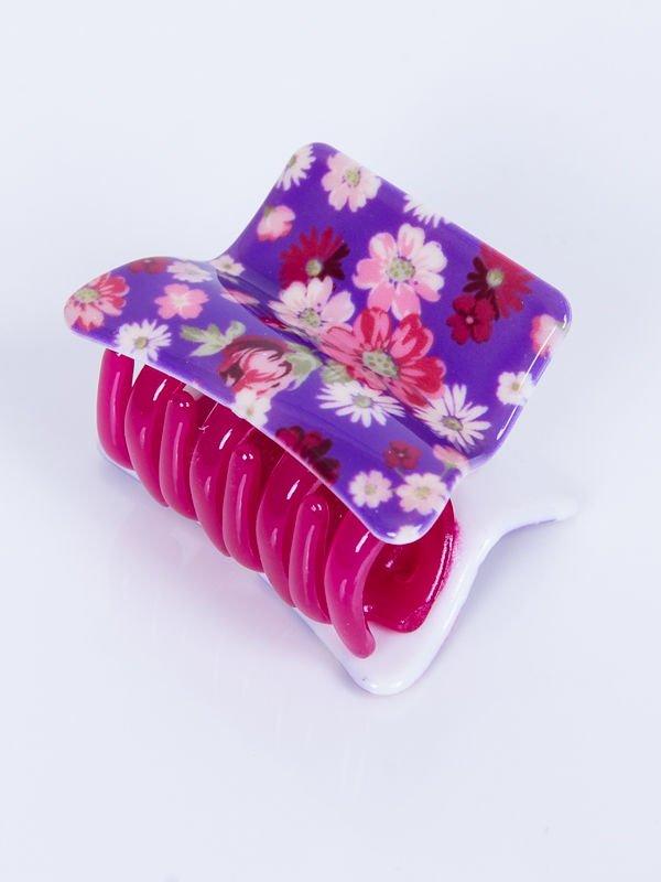 f60ede5388ea5e INCA Klamra do włosów fioletowa w kwiaty 5 cm - Akcesoria Spinki - sklep  eButik.pl