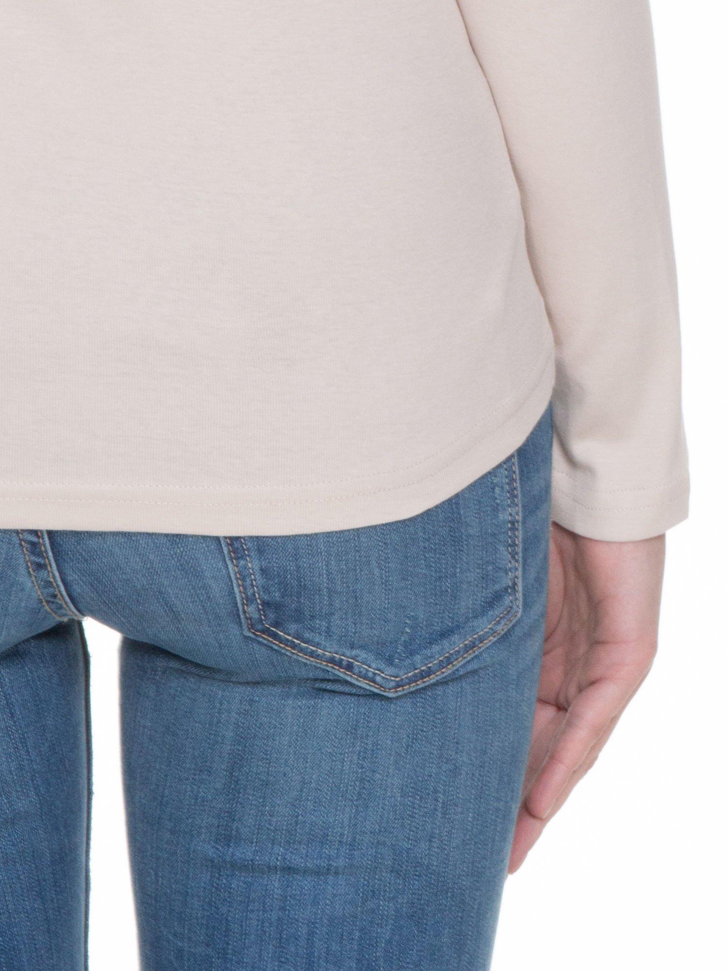 Jasnobeżowa bluzka z długim rękawem z bawełny                                  zdj.                                  7
