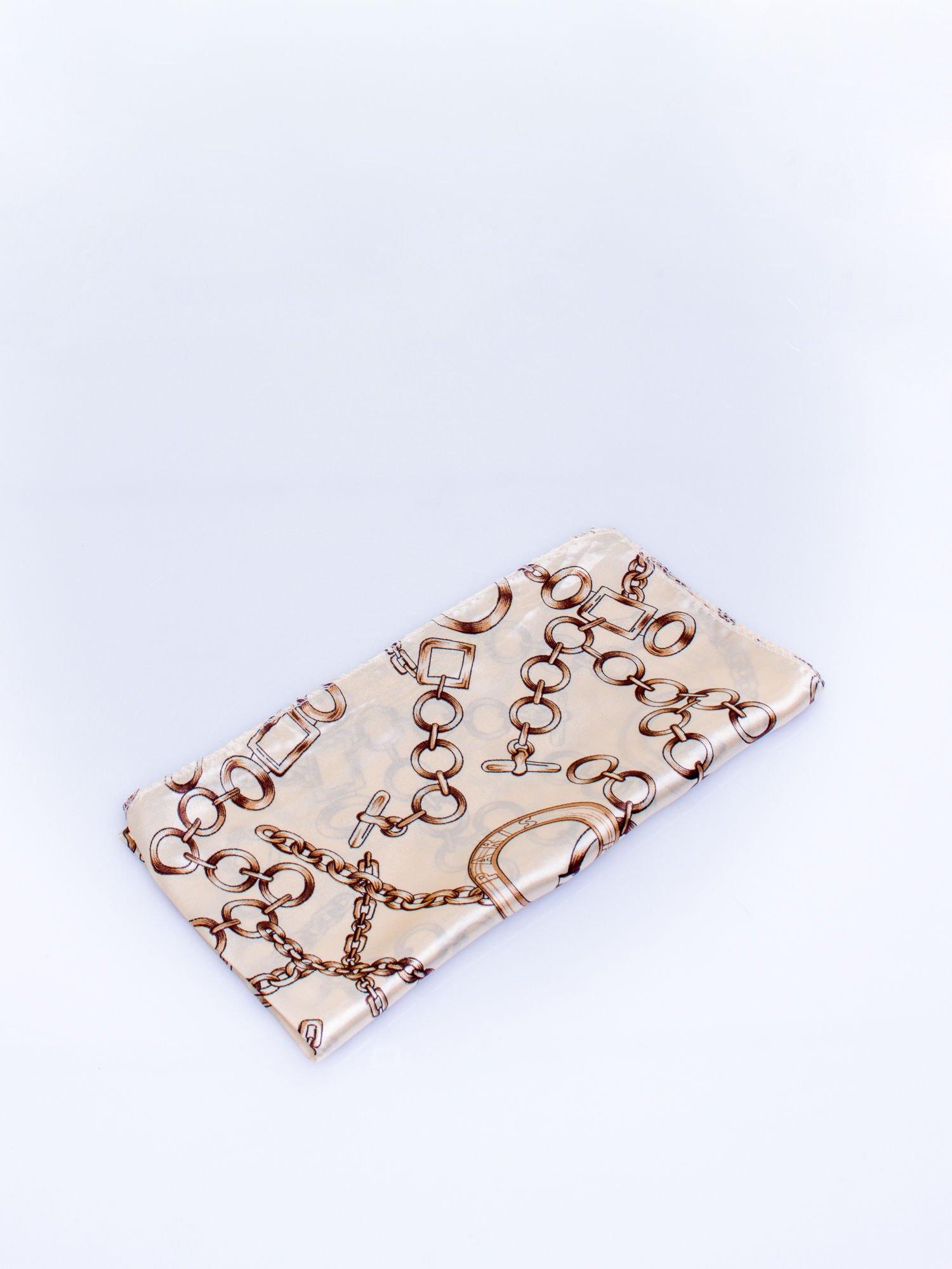 Jasnobeżowa chusta apaszka z motywem łańcuszka                                  zdj.                                  3