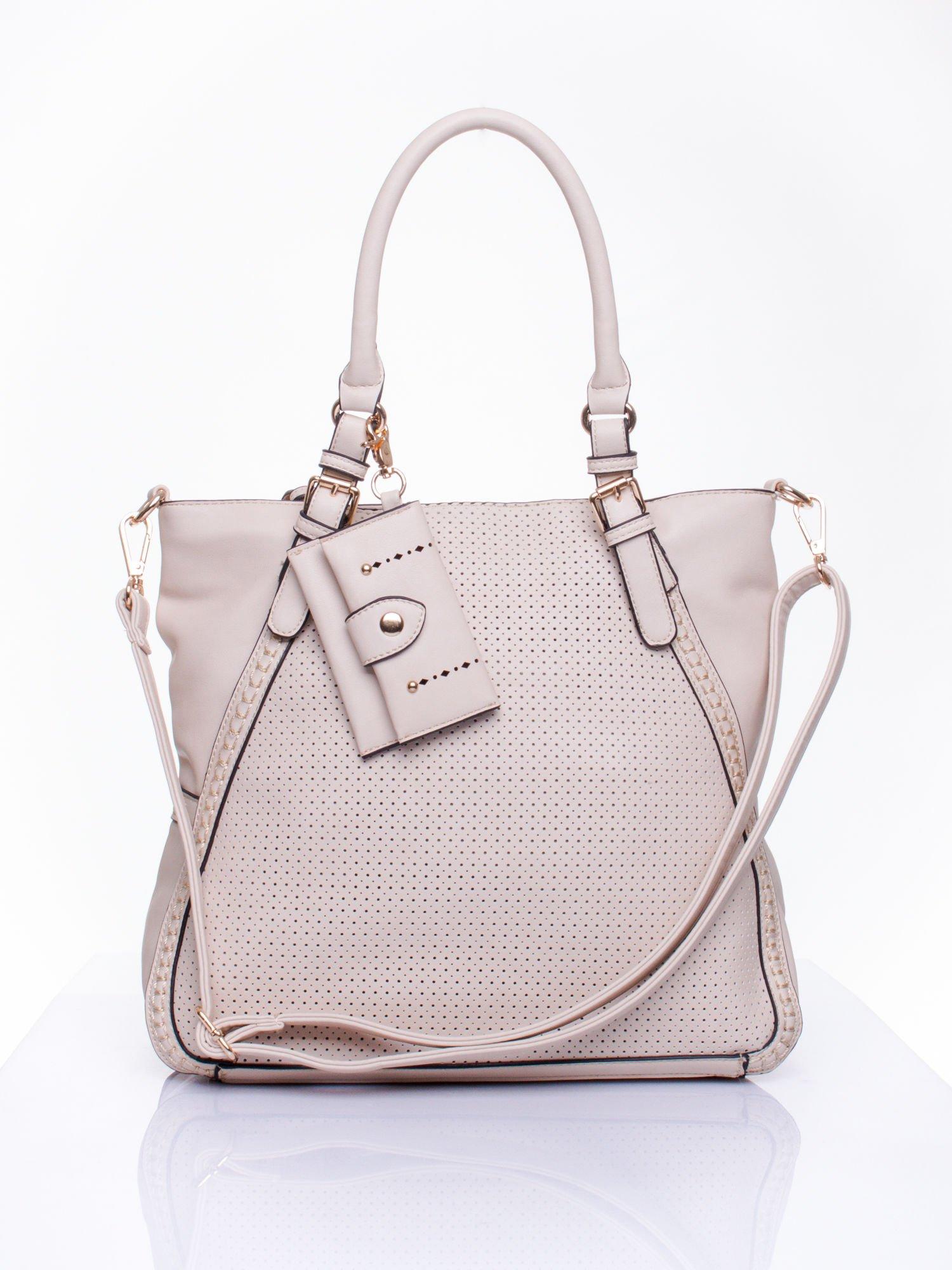 Jasnobeżowa dziurkowana torba shopper z portfelem                                  zdj.                                  1