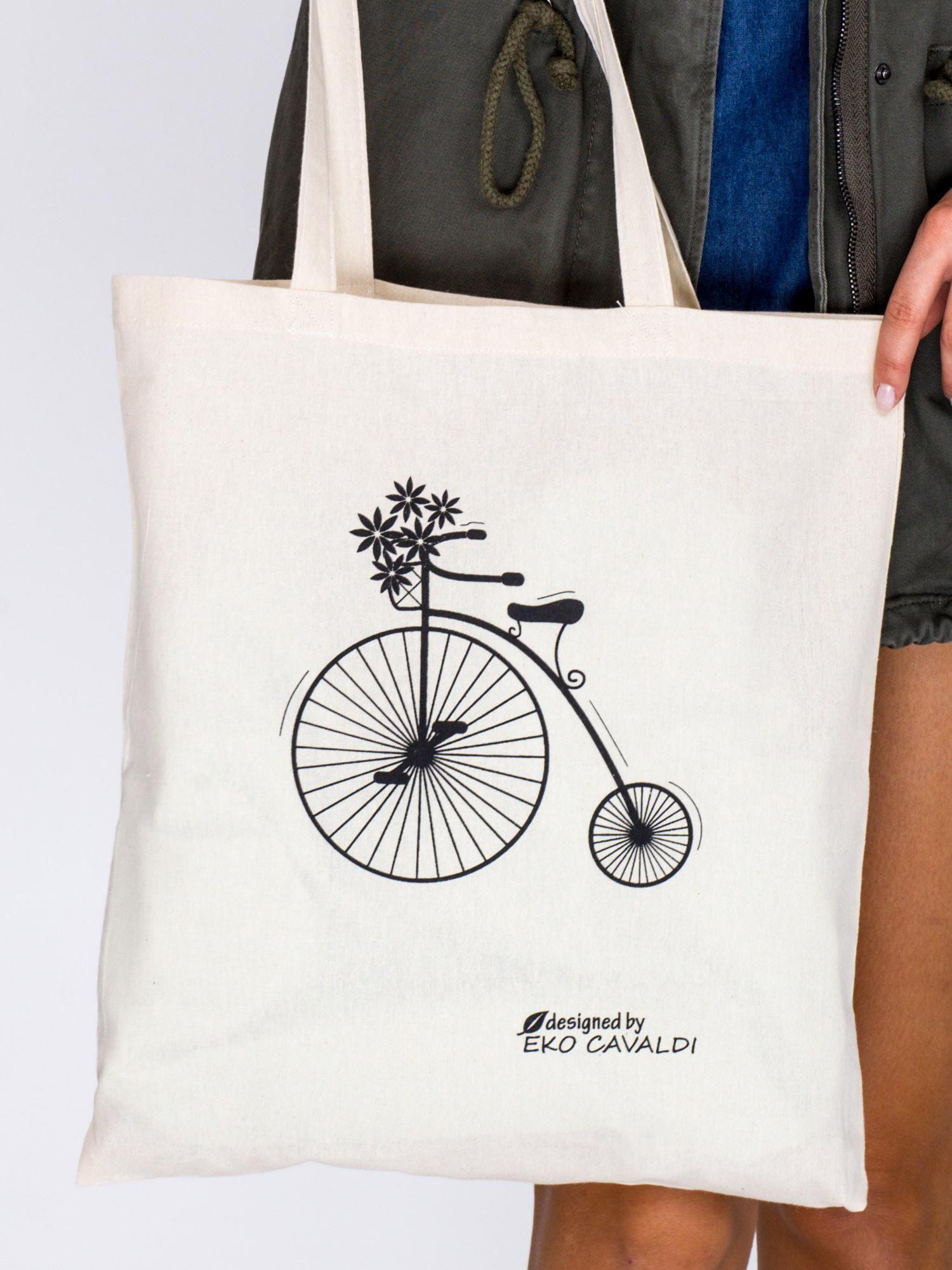 19defa951d37c Jasnobeżowa torba bawełniana z retro nadrukiem bicykla - Akcesoria ...
