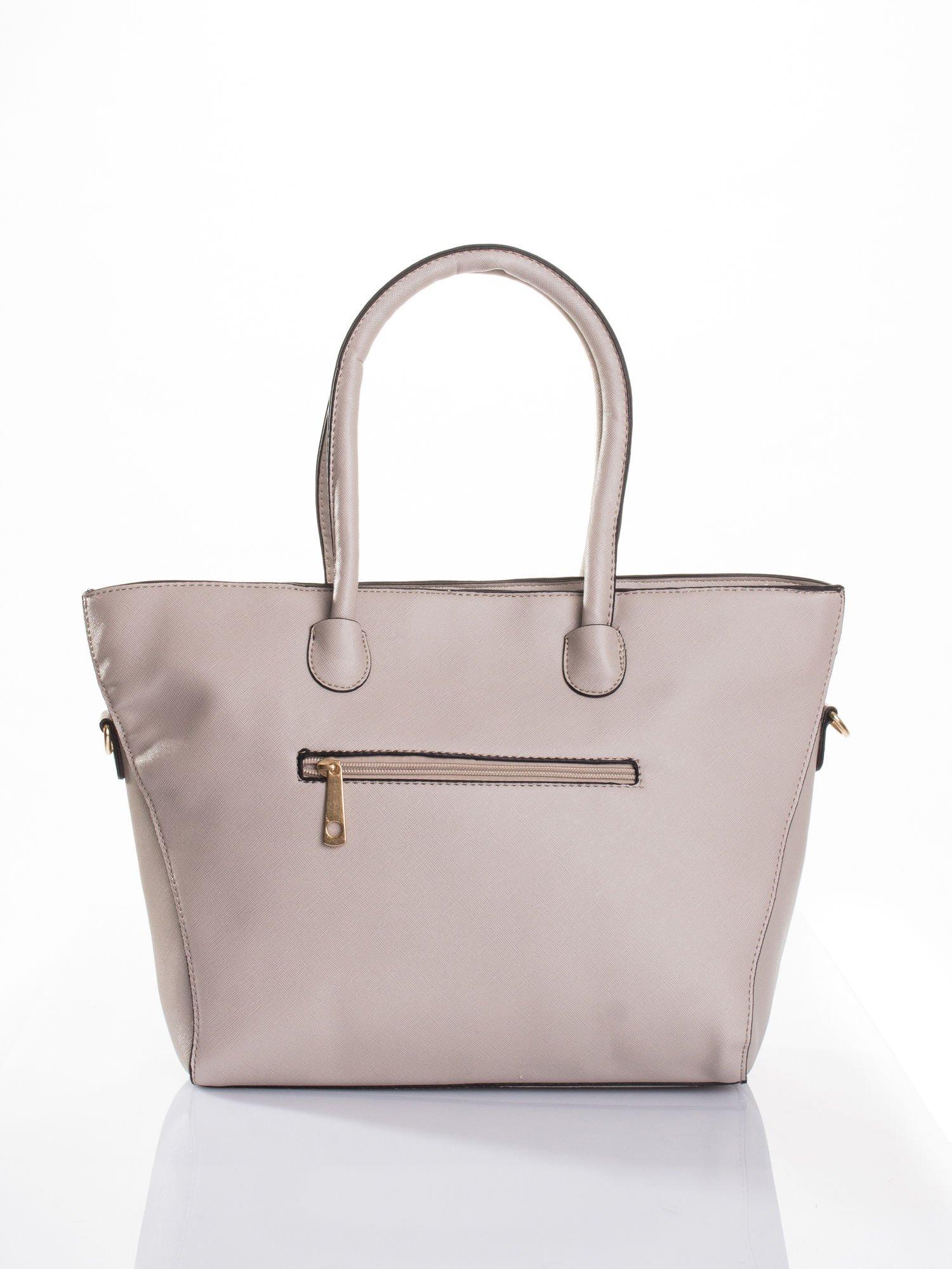 Jasnobeżowa torba shopper efekt saffiano                                  zdj.                                  2
