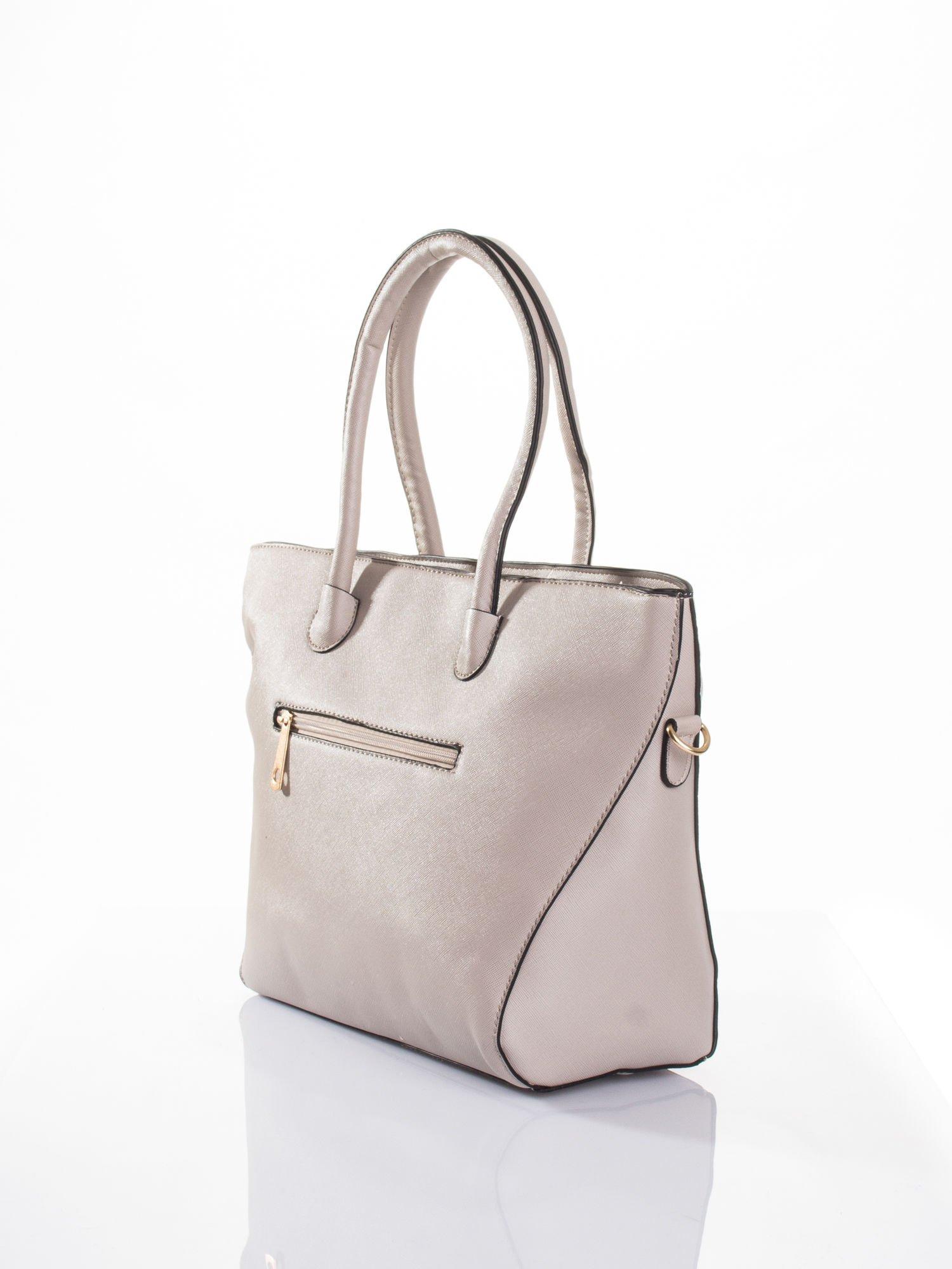 Jasnobeżowa torba shopper efekt saffiano                                  zdj.                                  3