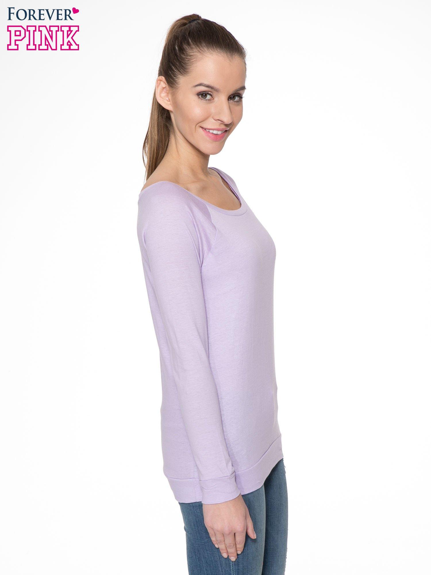 Jasnofioletowa bawełniana bluzka z rękawami typu reglan                                  zdj.                                  3