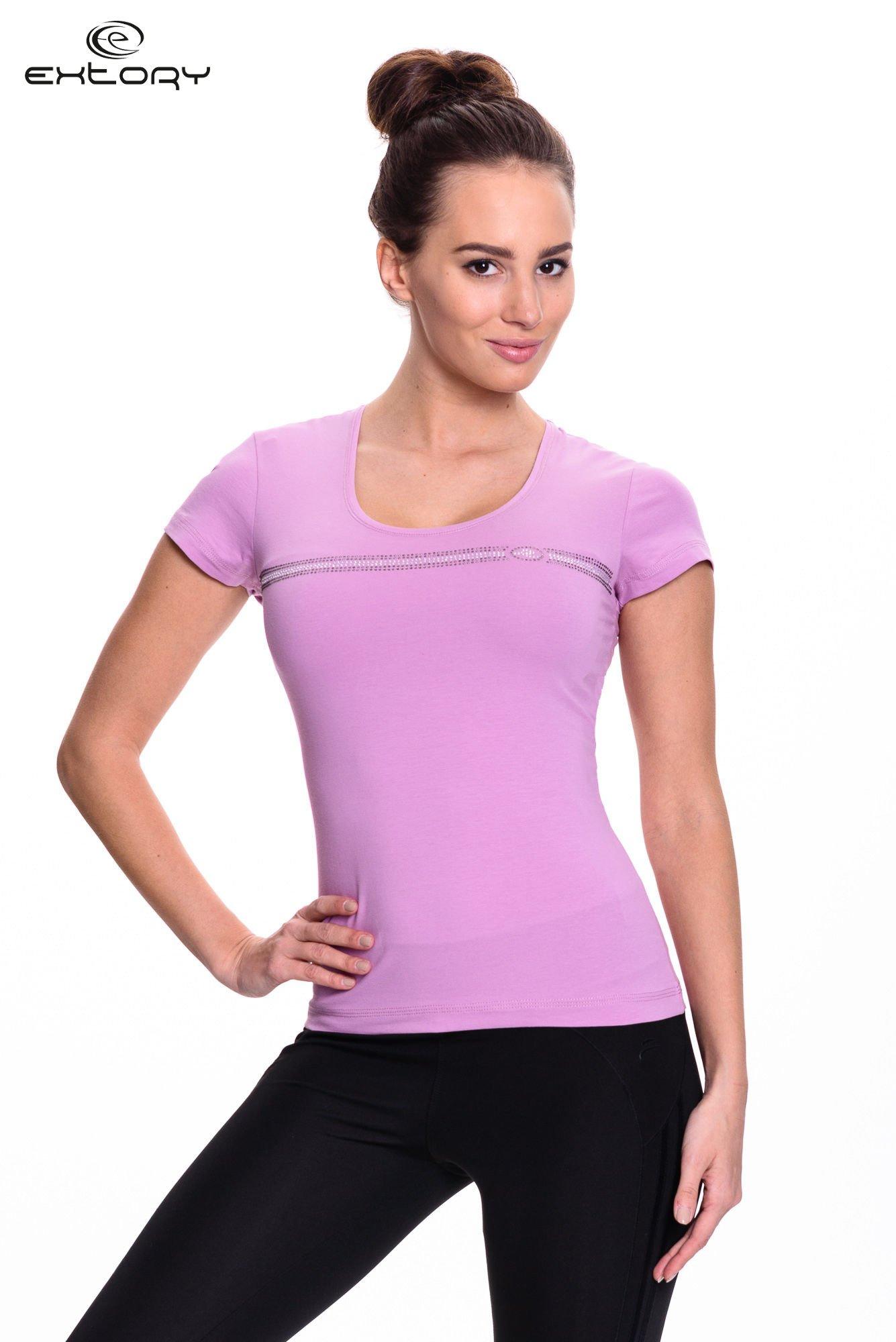 Jasnofioletowy t-shirt sportowy z paskiem z dżetów                                  zdj.                                  1